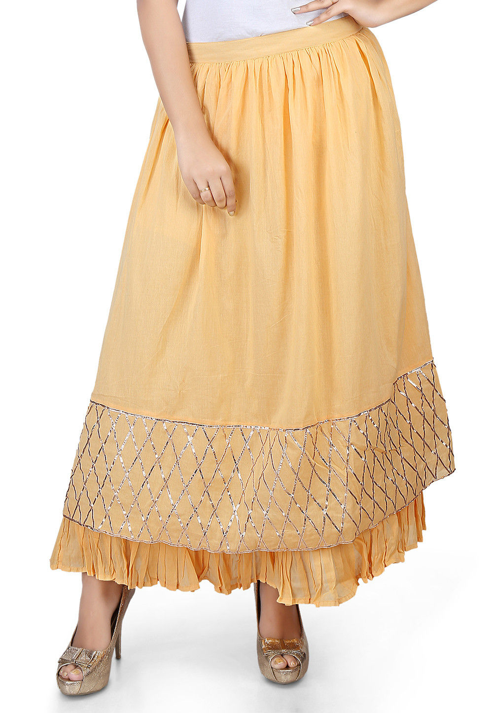 Plain Cotton Mulmul Long Skirt in Beige