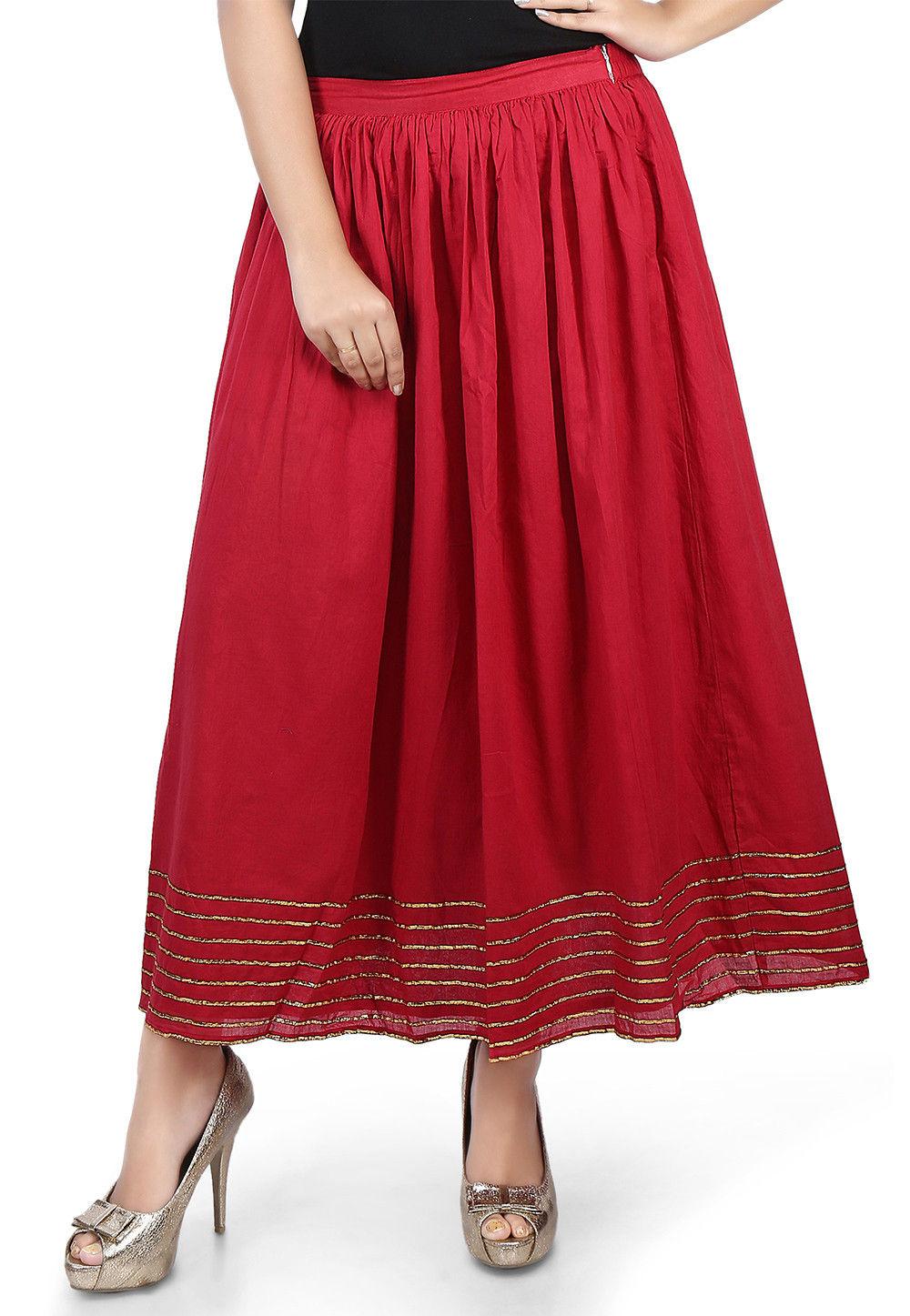 Plain Cotton Mulmul Long Skirt in Maroon