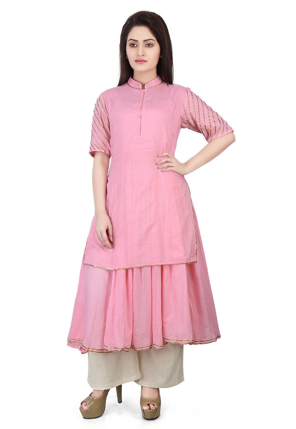 Plain Cotton Mulmul Double Layered Long Kurta in Pink
