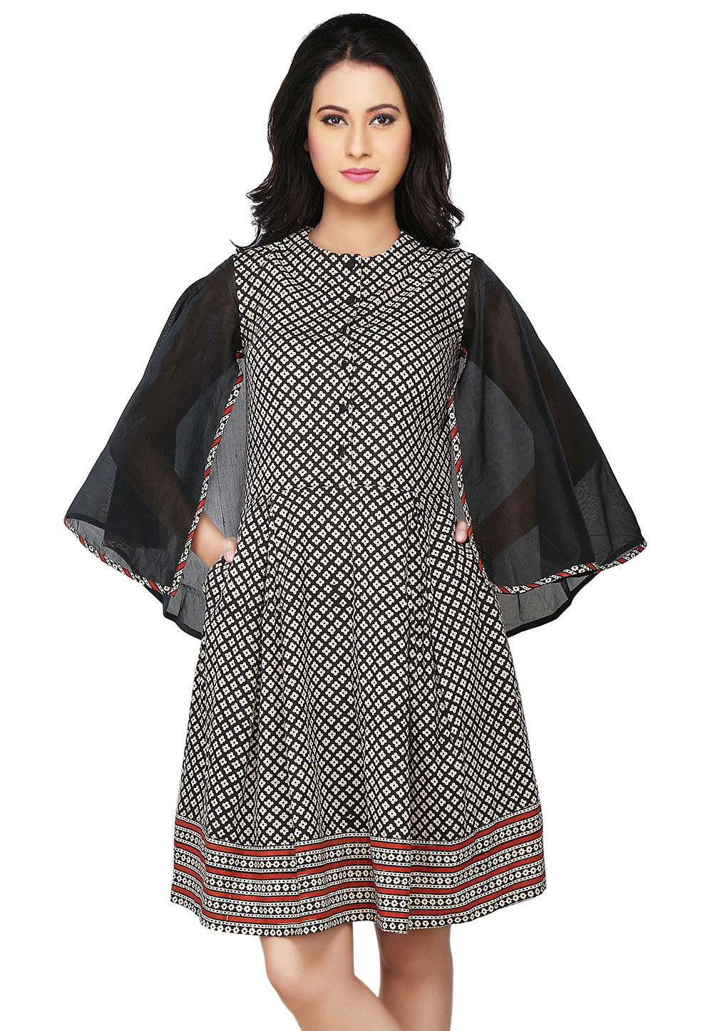 Cotton and Chanderi Flared Dress In Black and Off White
