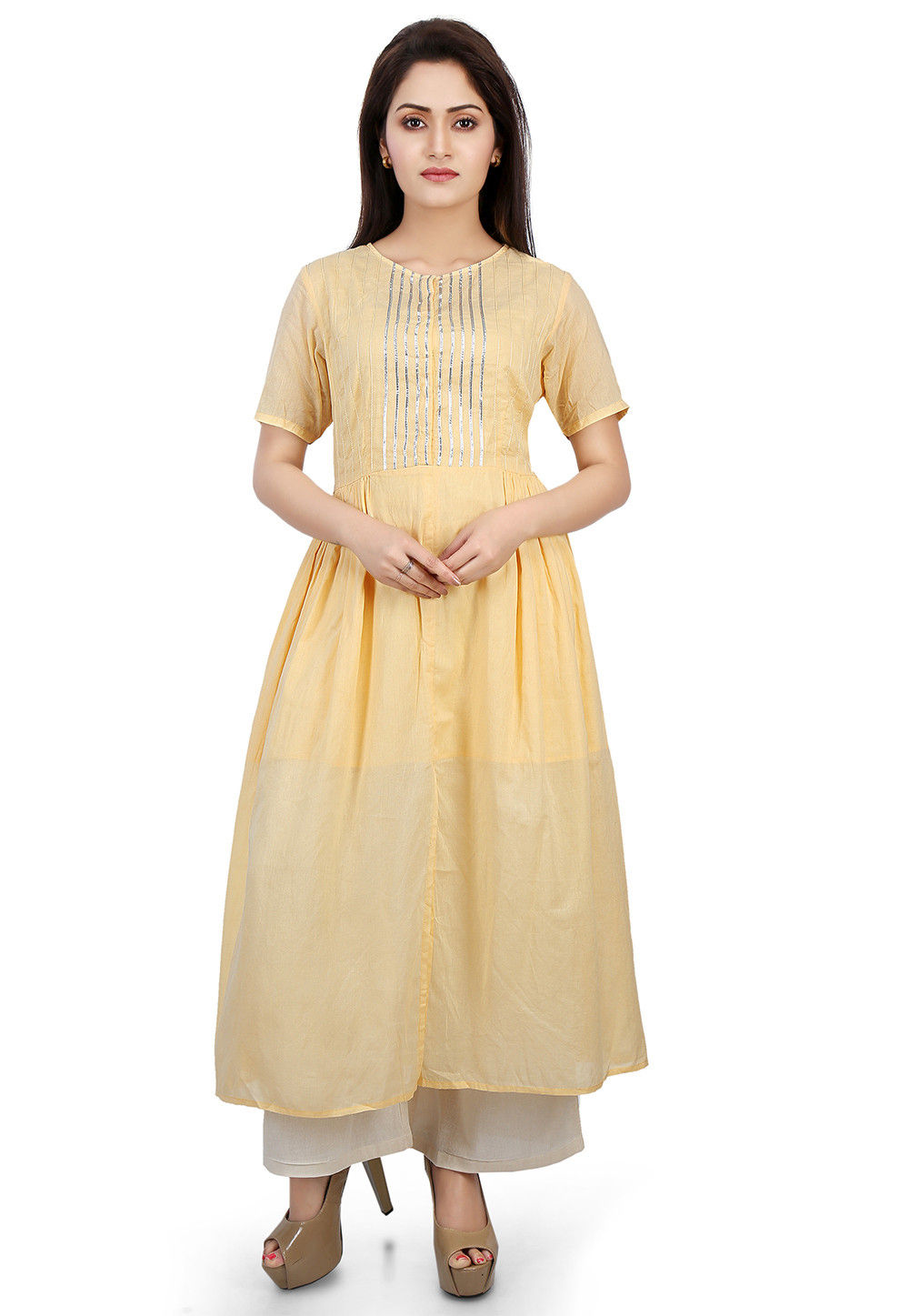 Plain Cotton Mulmul Flared Long Kurta in Light Yellow