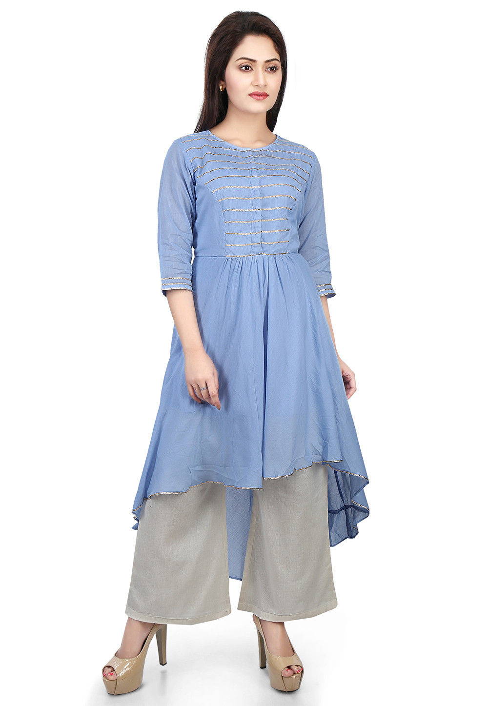 Plain Cotton Mulmul High Low Long Kurta in Blue