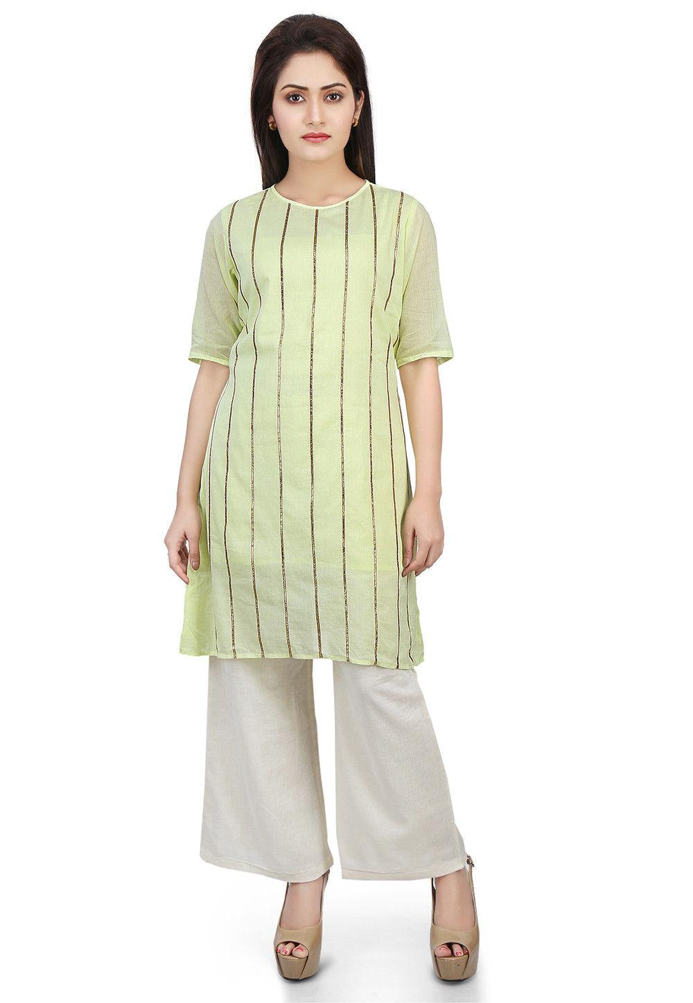 Plain Cotton Mulmul Kurti in Pastel Green