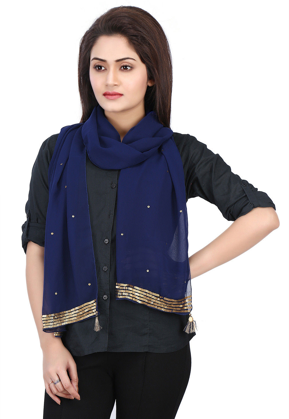 Embellished Georgette Scarf in Navy Blue