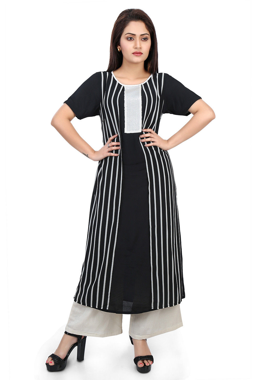 Printed Crepe and Georgette Long Kurta in Black and White