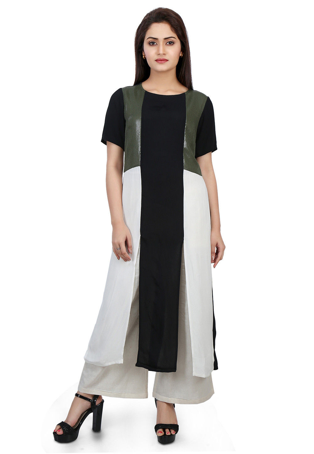 Plain Crepe Long Kurta in Black and White