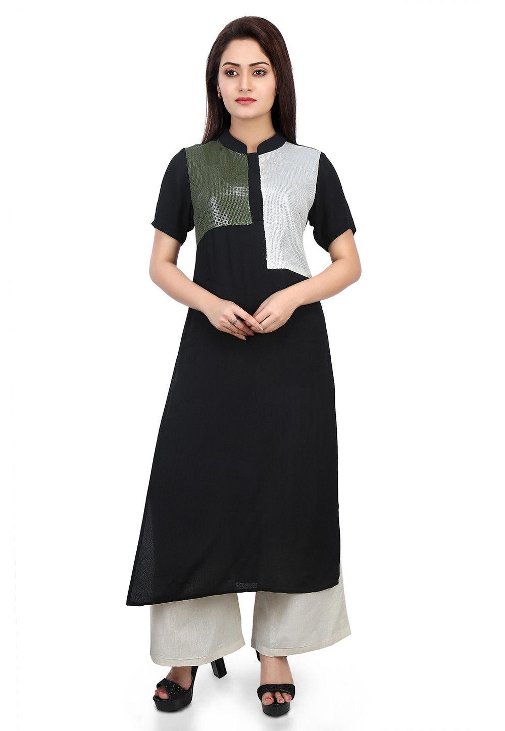 Plain Crepe Long Kurta in Black