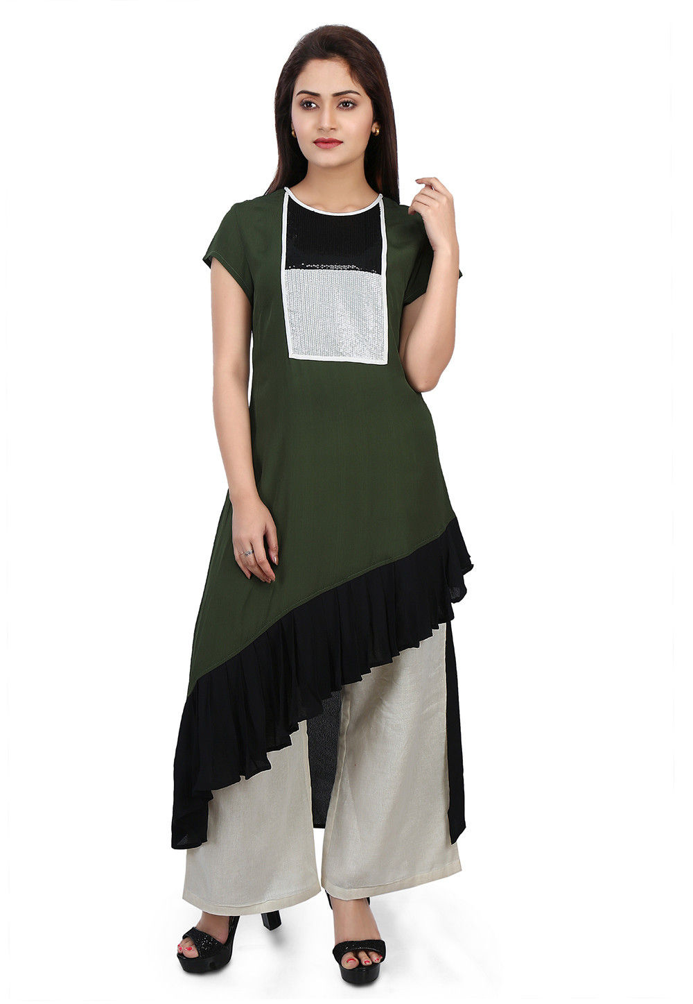 Plain Crepe Asymmetric Long Kurta in Green and Black