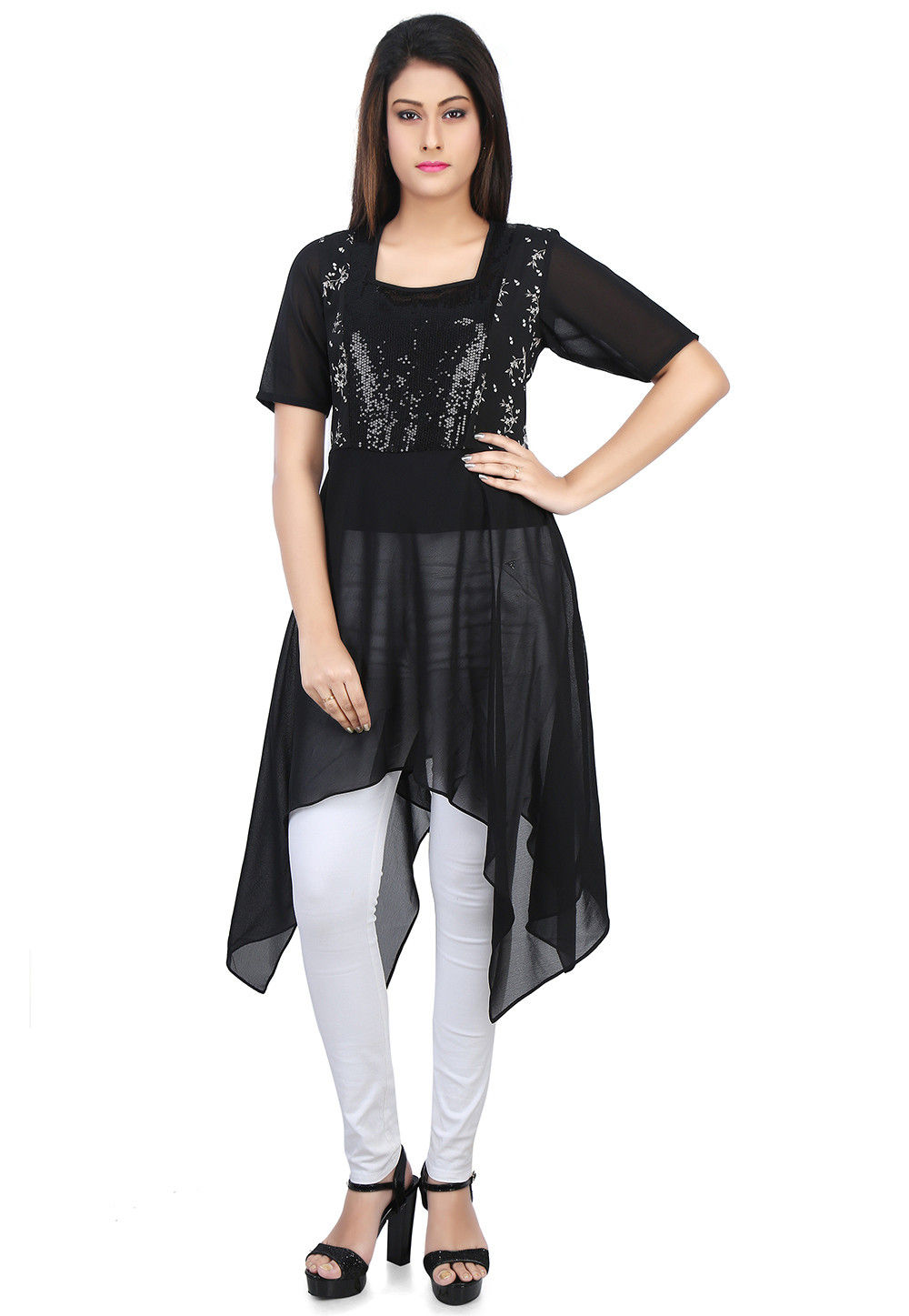 Embroidered Crepe and Georgette Asymmetric Tunic in Black