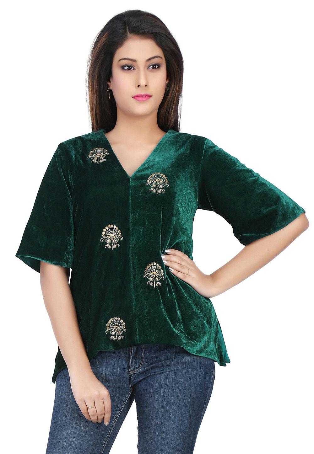 Embroidered Velvet Top in Dark Green