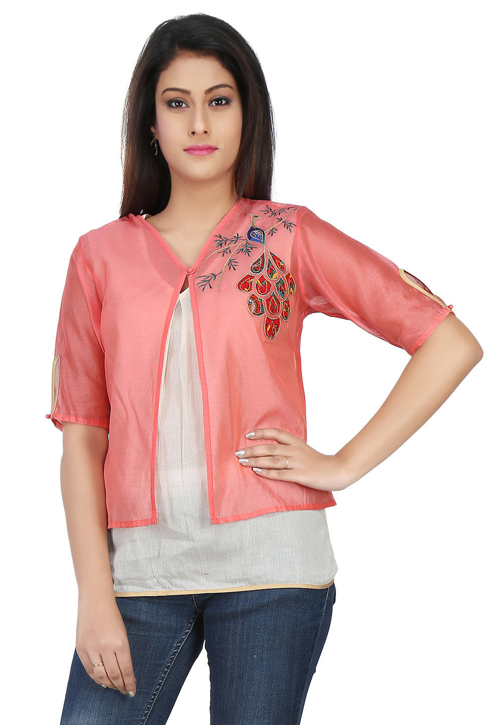 Embroidered Chanderi Silk Top in Peach