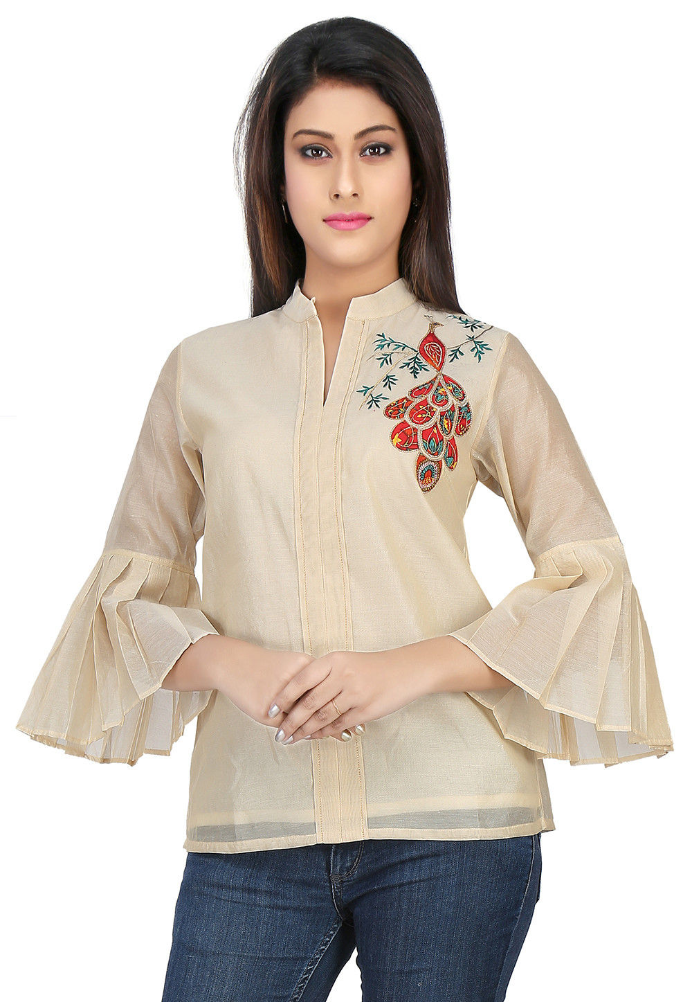 Plain Chanderi Silk Top in Beige