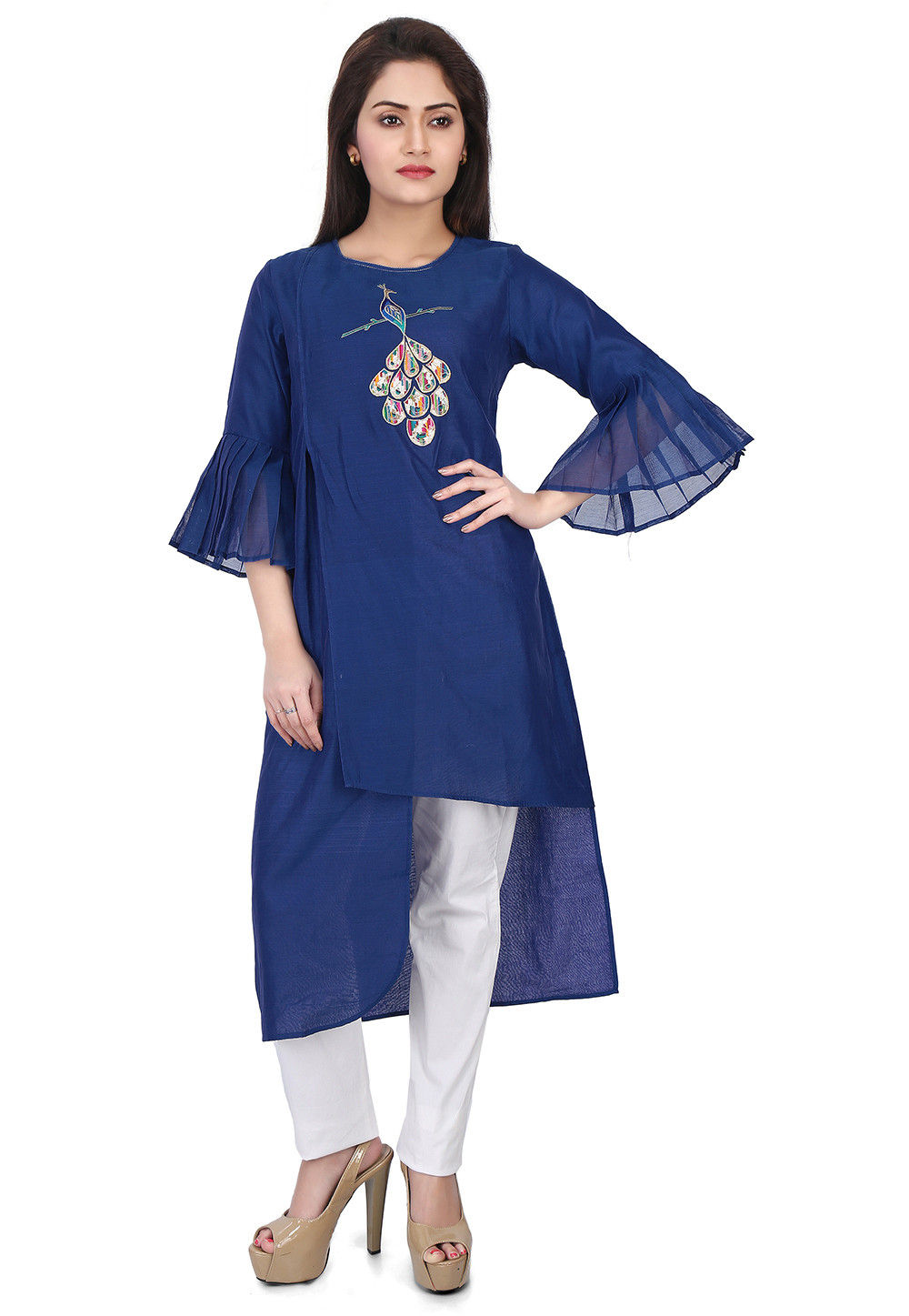 Embroidered Chanderi Silk Kurta in Blue