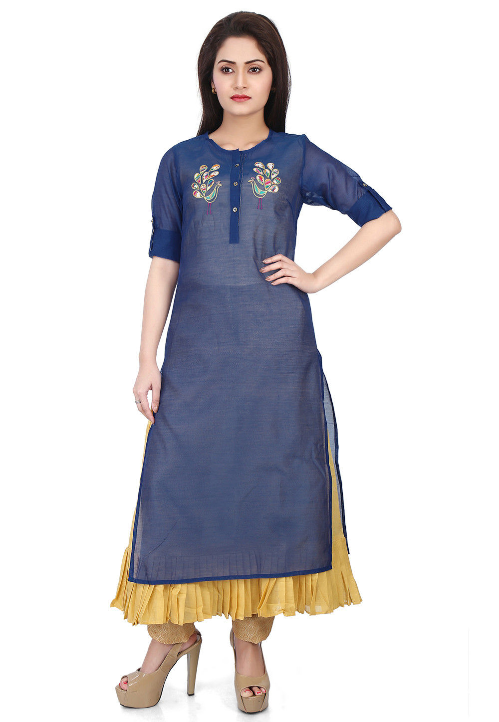 Plain Chanderi Silk Layered Kurta in Navy Blue