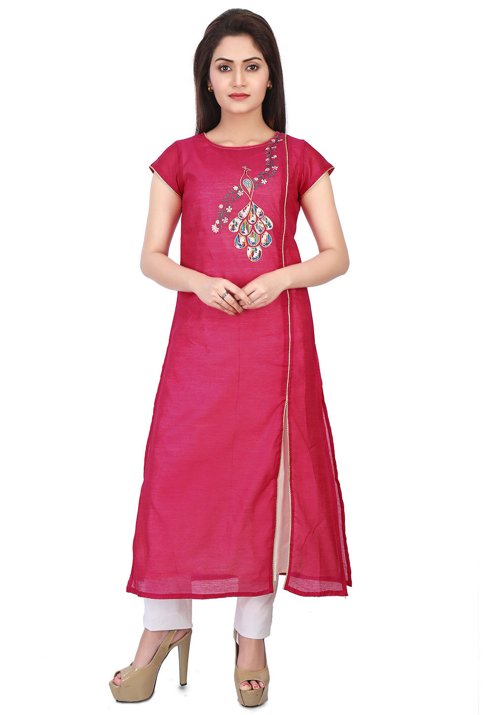 Embroidered Chanderi Silk Kurta in Fuchsia