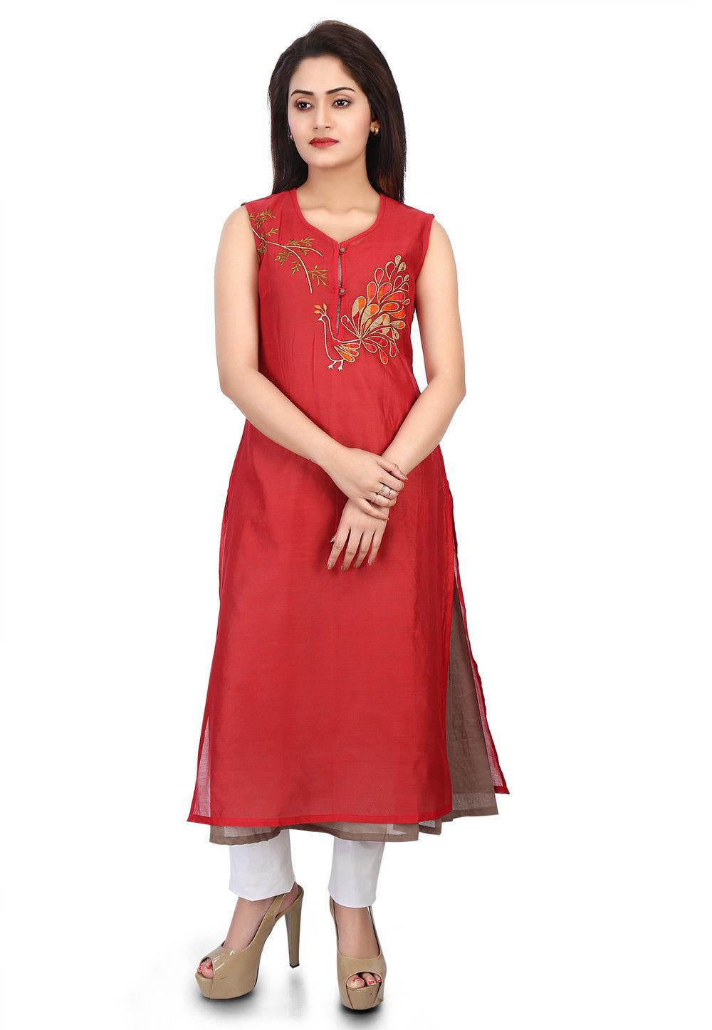 Embroidered Chanderi Silk Layered Kurta in Red