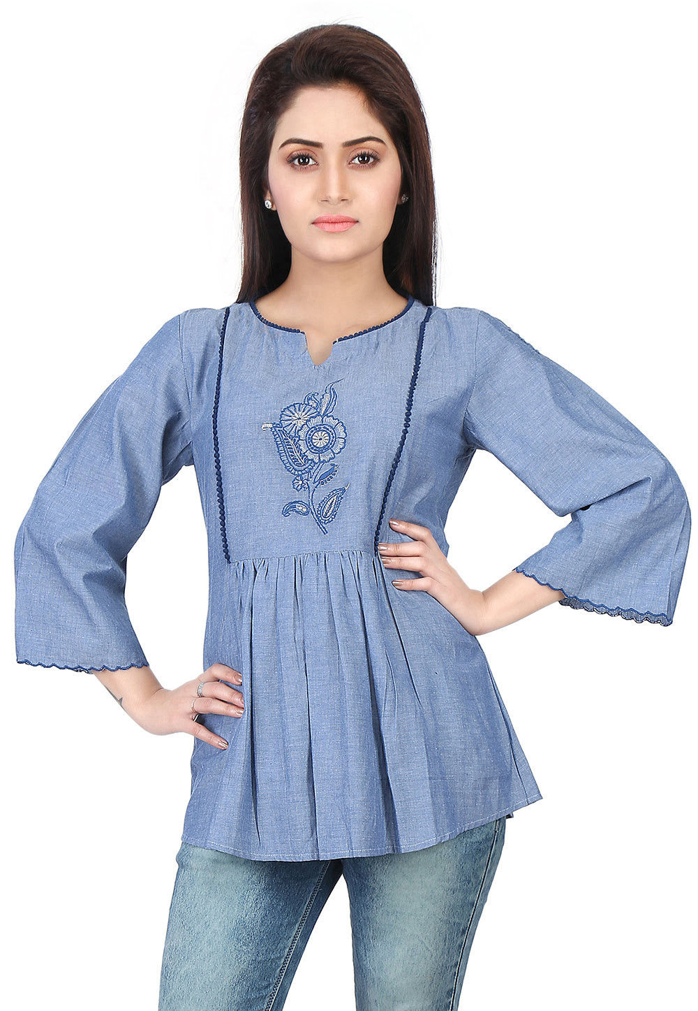 Embroidered Chambray Top in Blue