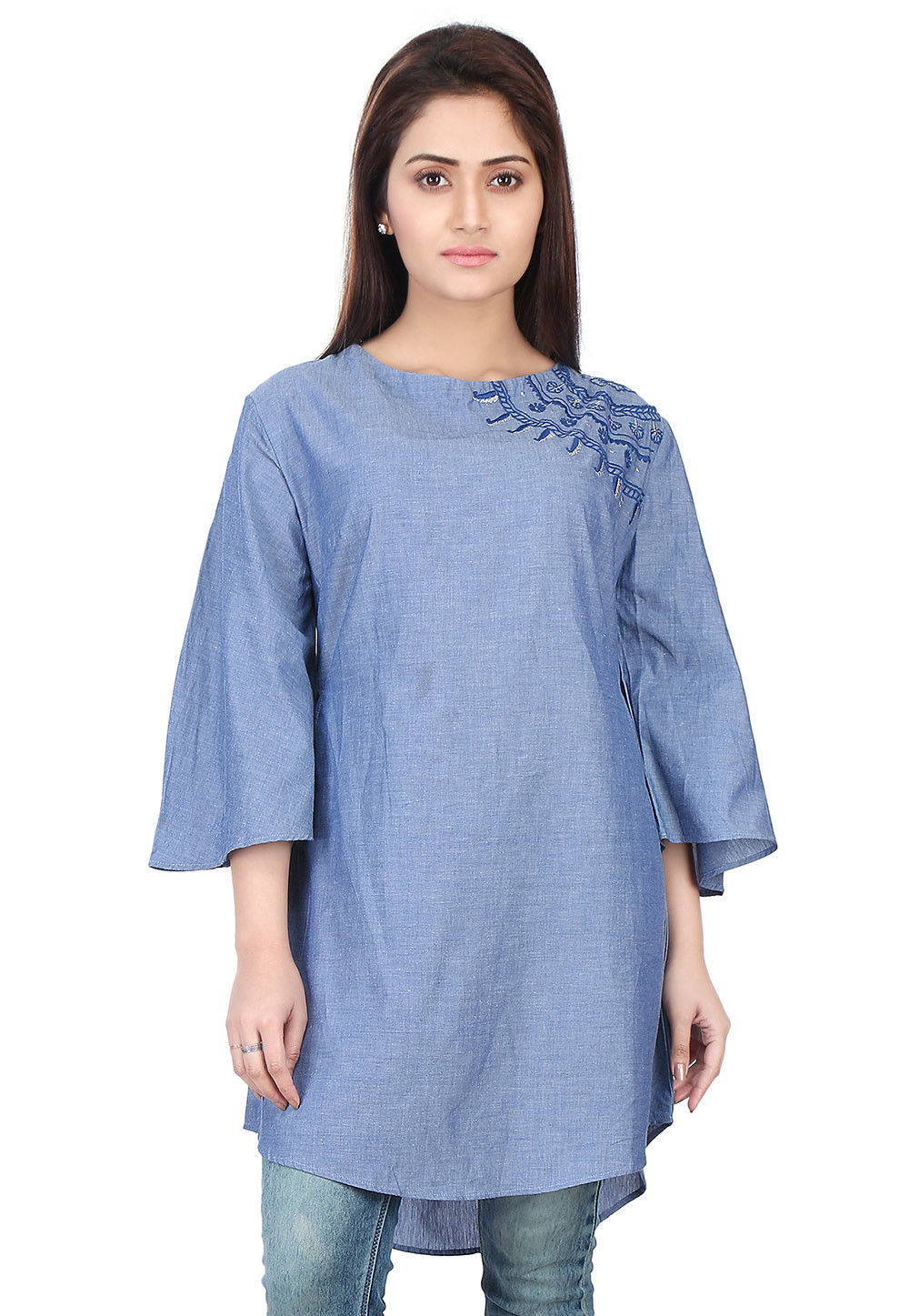 Plain Chambray Tunic in Blue