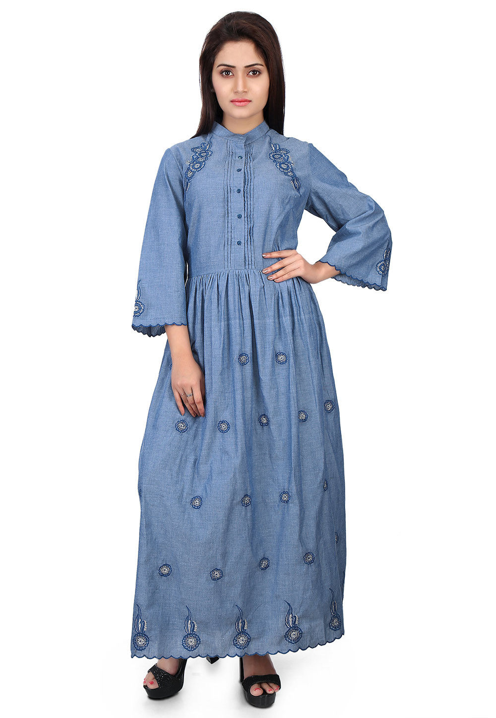 Embroidered Chambray Dress in Blue