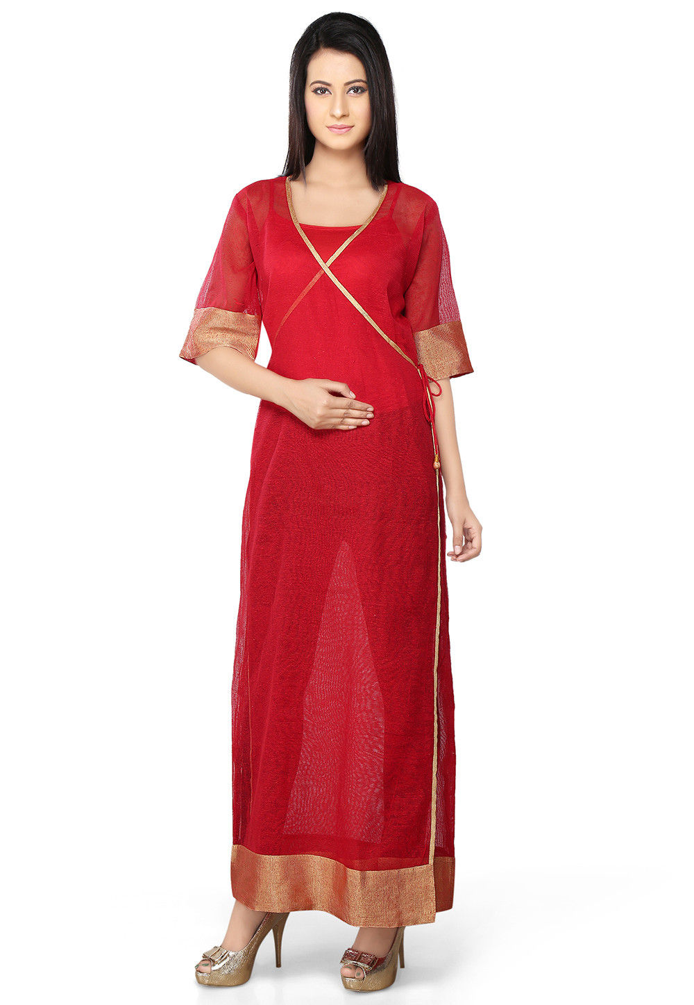 Art Jute Noil Silk Angrakha style Long Jacket In Red