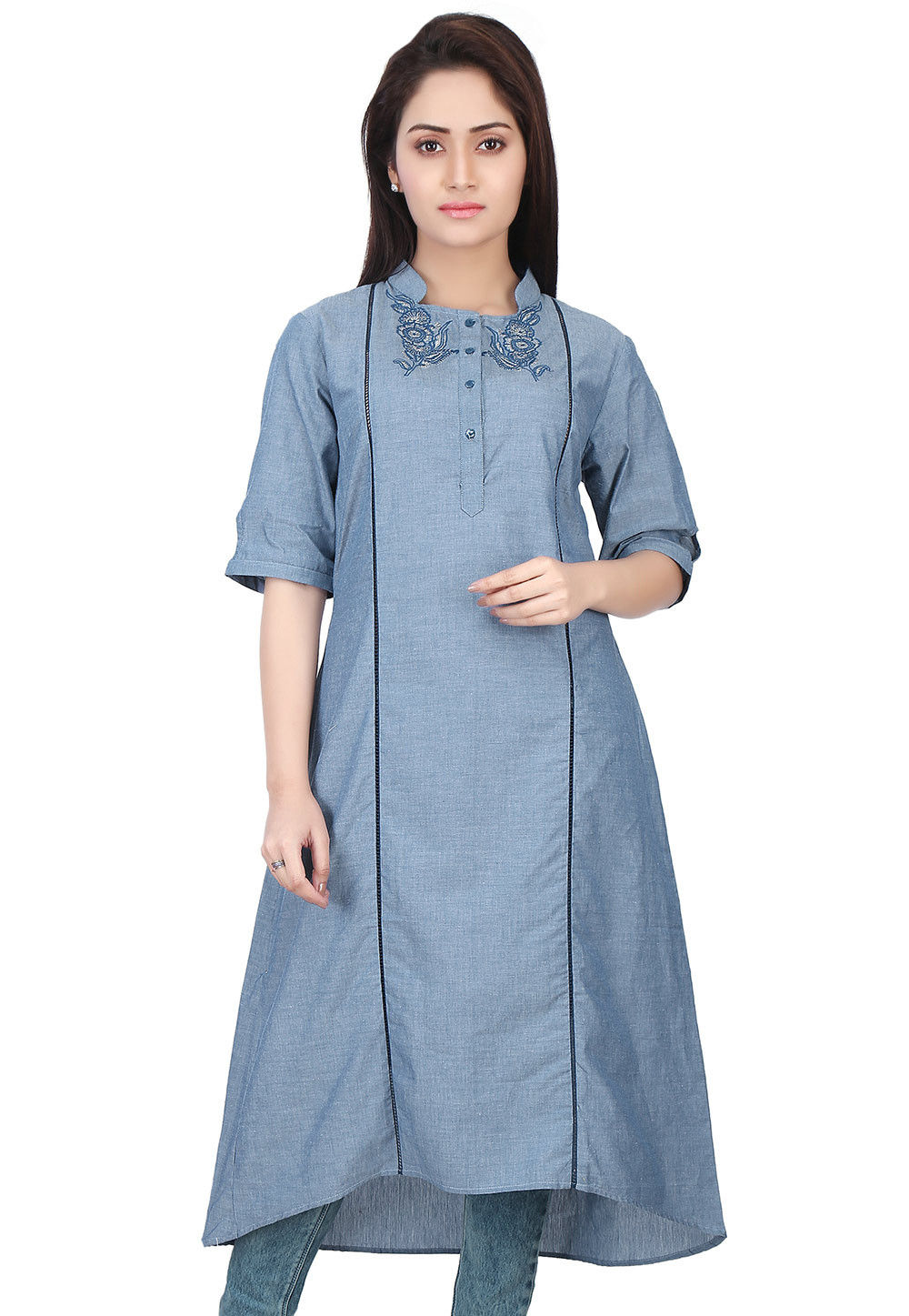 Embroidered Chambray Kurta in Blue