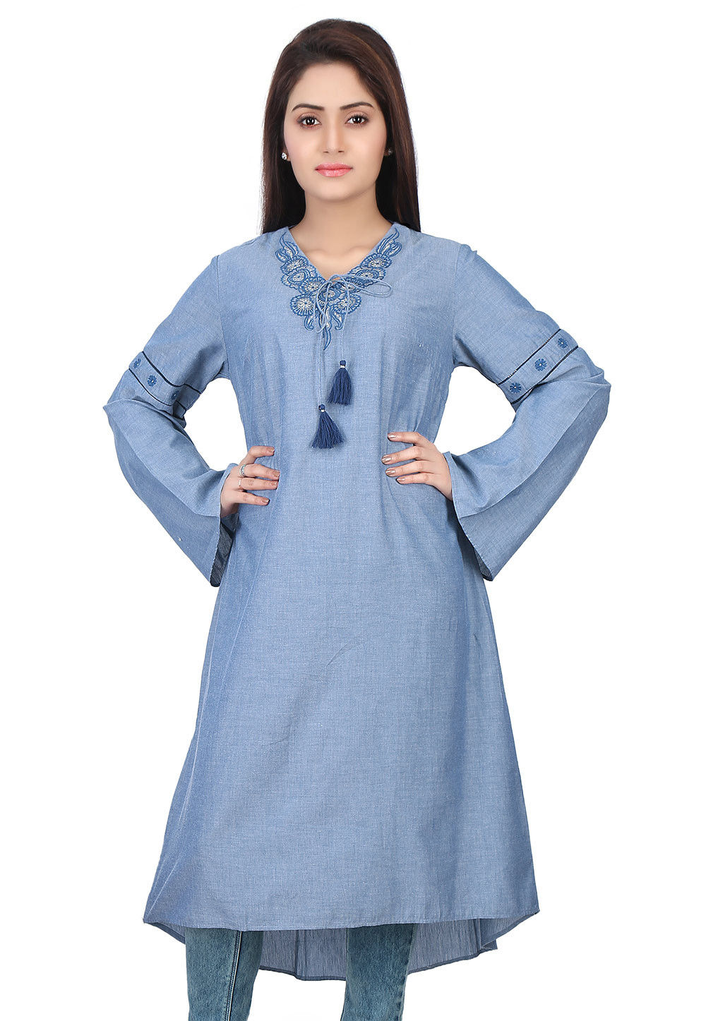 Plain Chambray Kurta in Blue