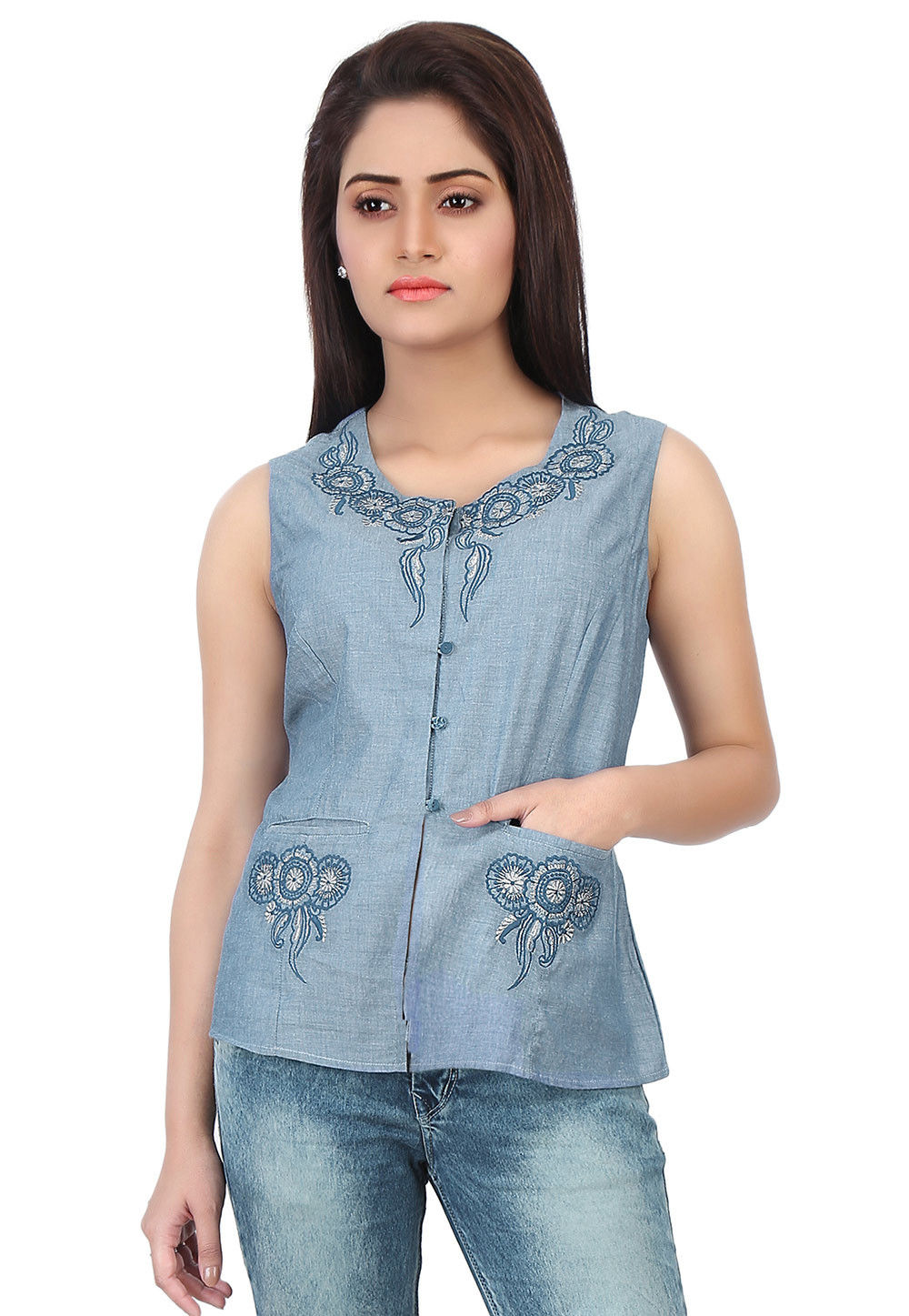 Embroidered Chambray Jacket Style Top in Blue