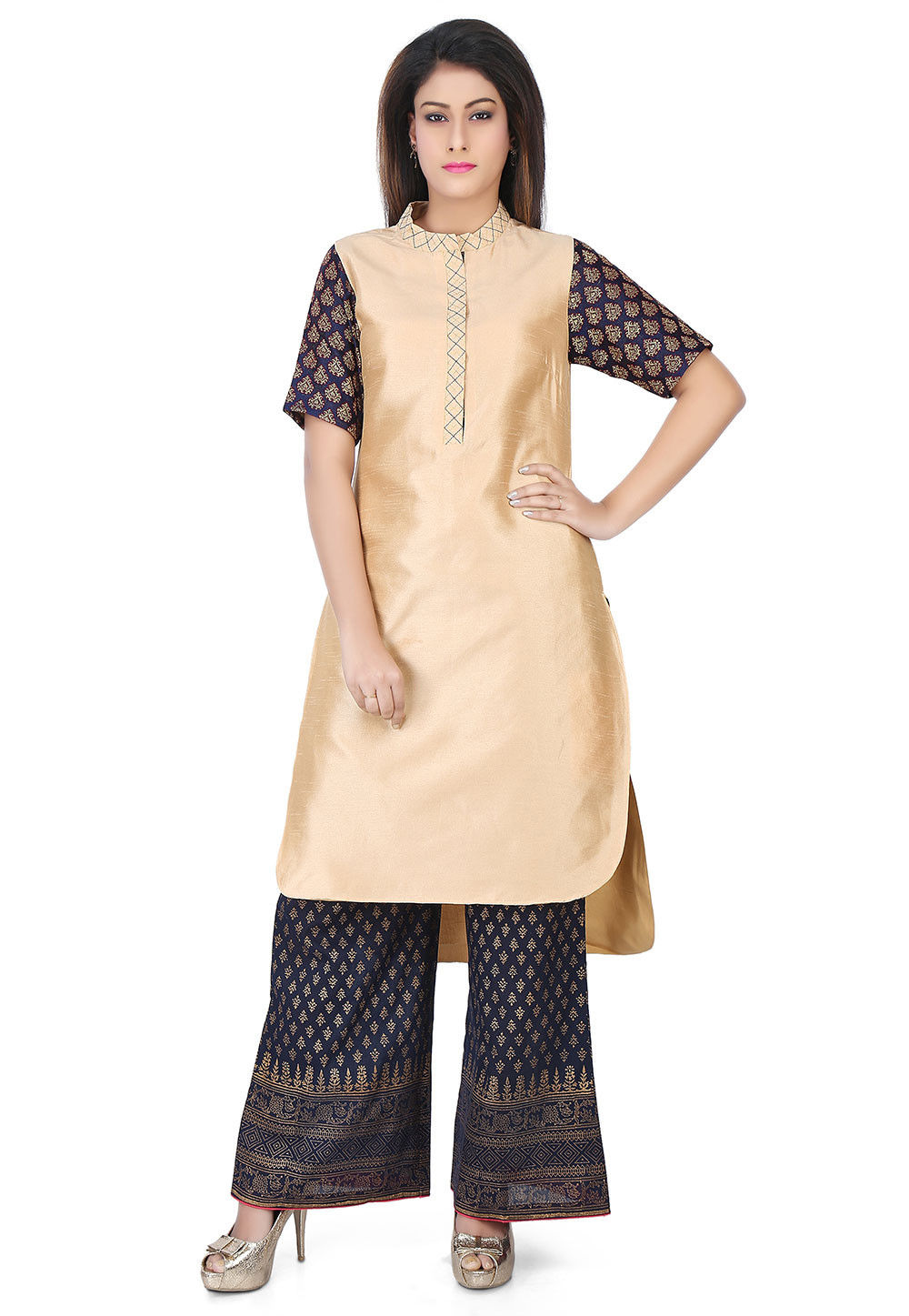 Plain Dupion Silk Kurta in Beige