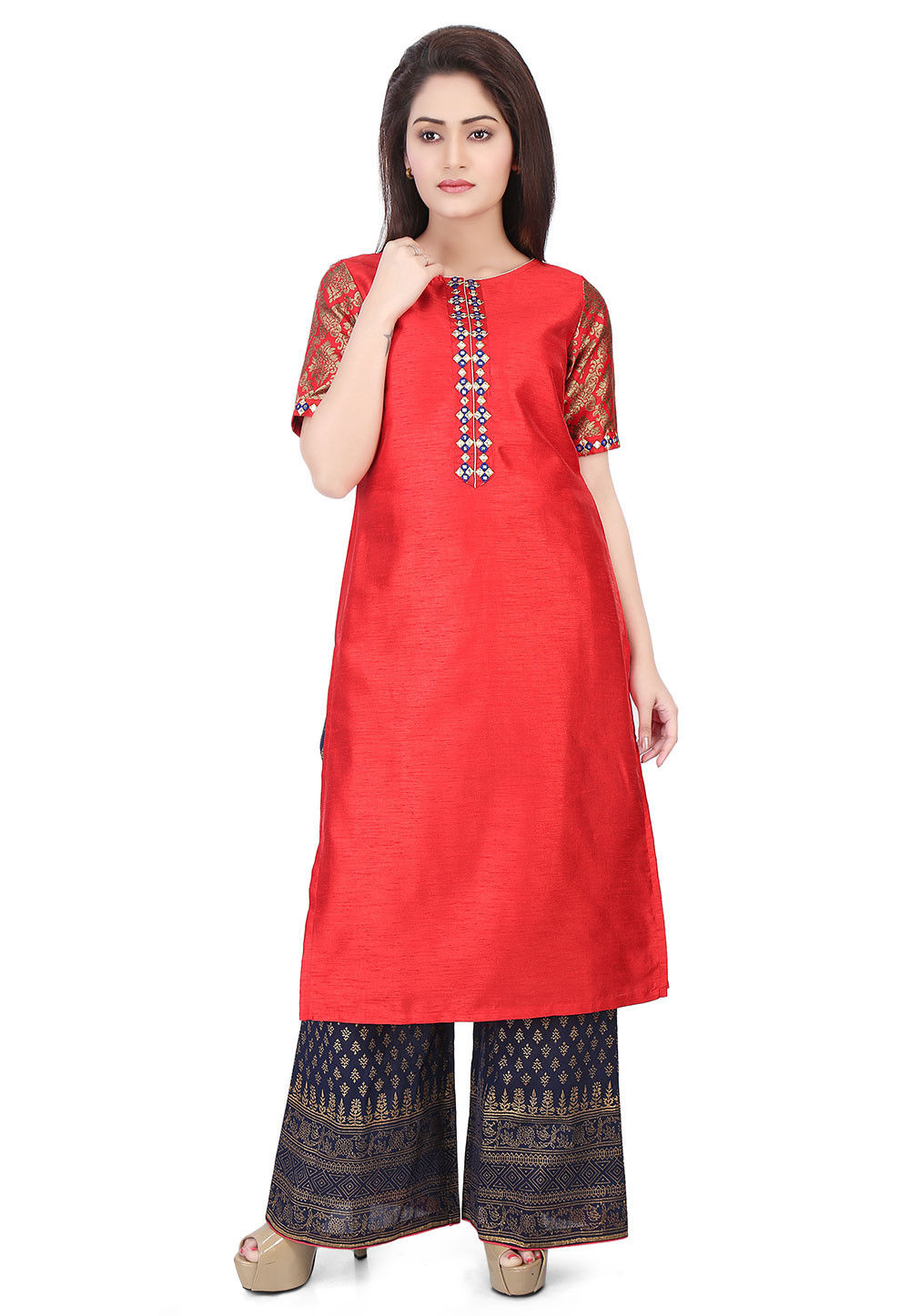 Plain Dupion Silk Kurta in Red