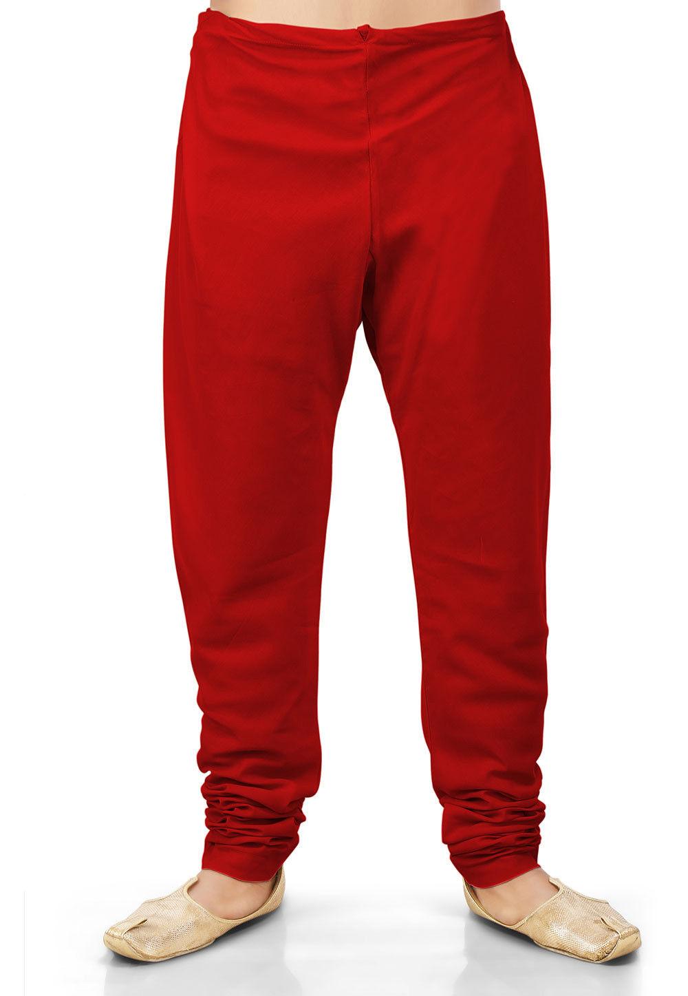 Plain Cotton Silk Churidar in Red