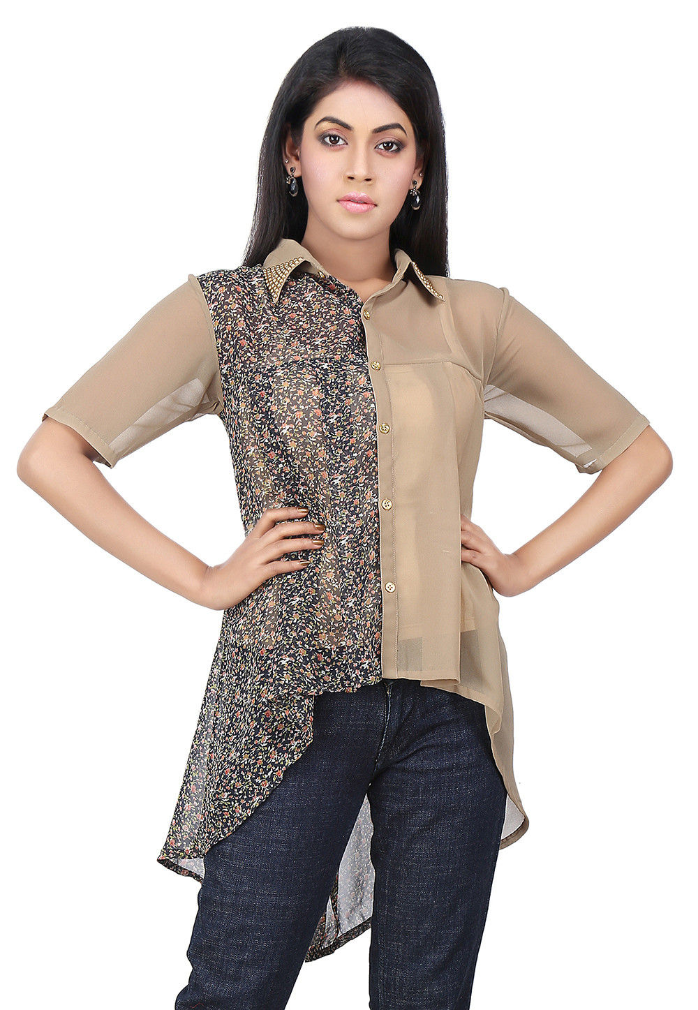 Floral Printed Georgette Top in Beige