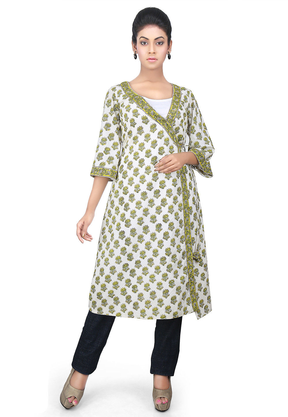 Floral Printed Cotton Silk Kurta in Off White