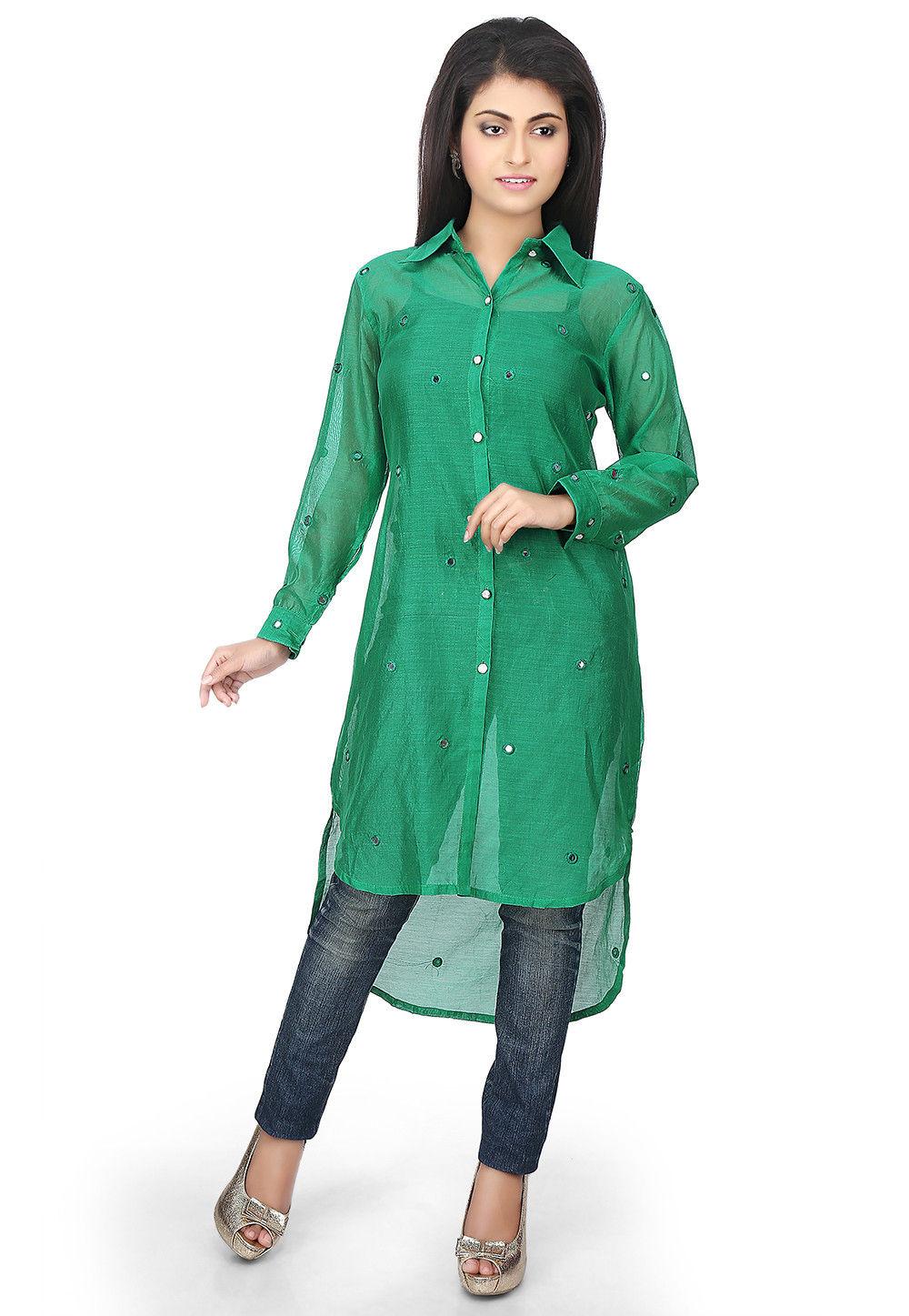 Plain Chanderi Silk High Low Kurta in Green