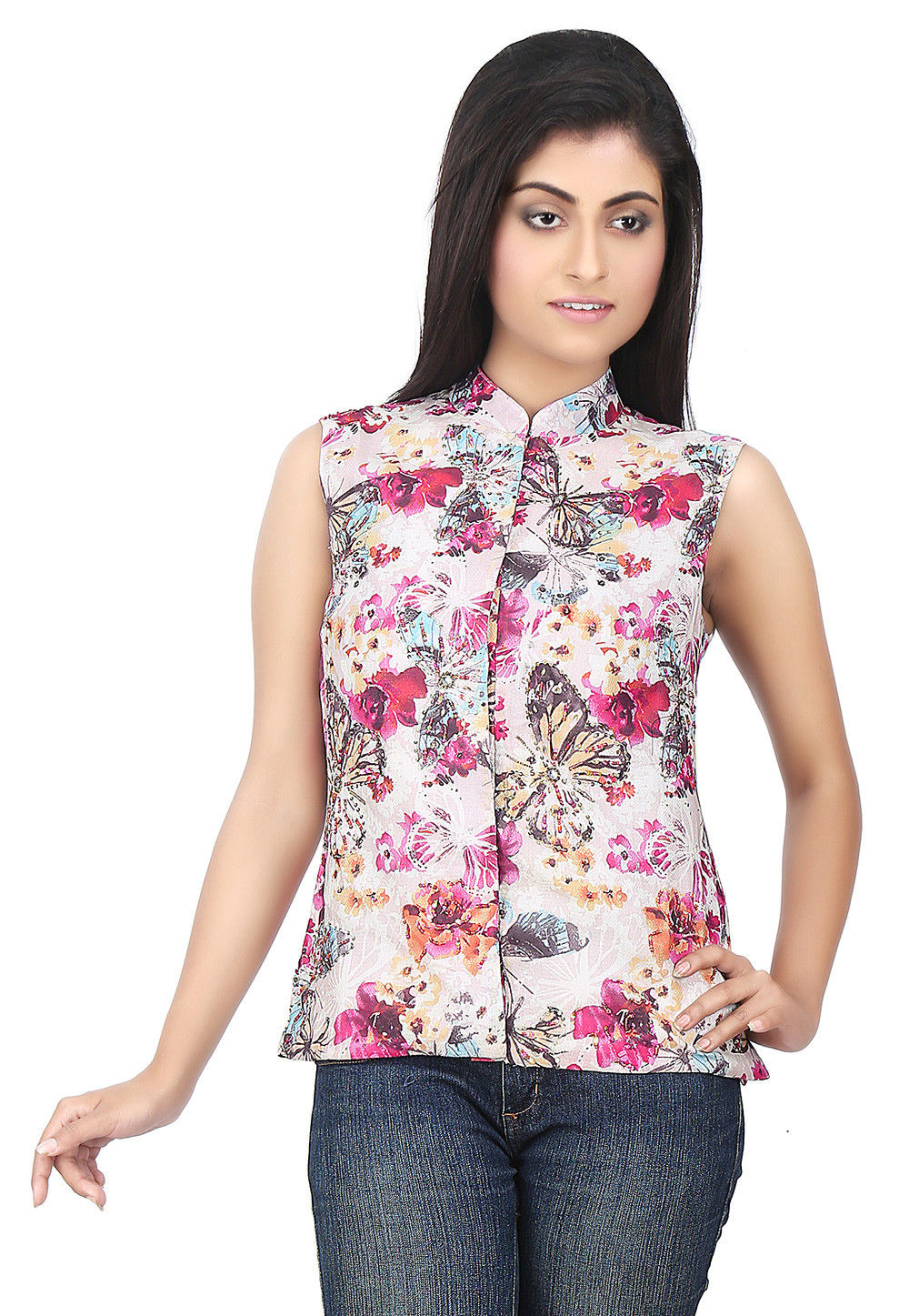 Printed Art Silk Top in Baby Pink