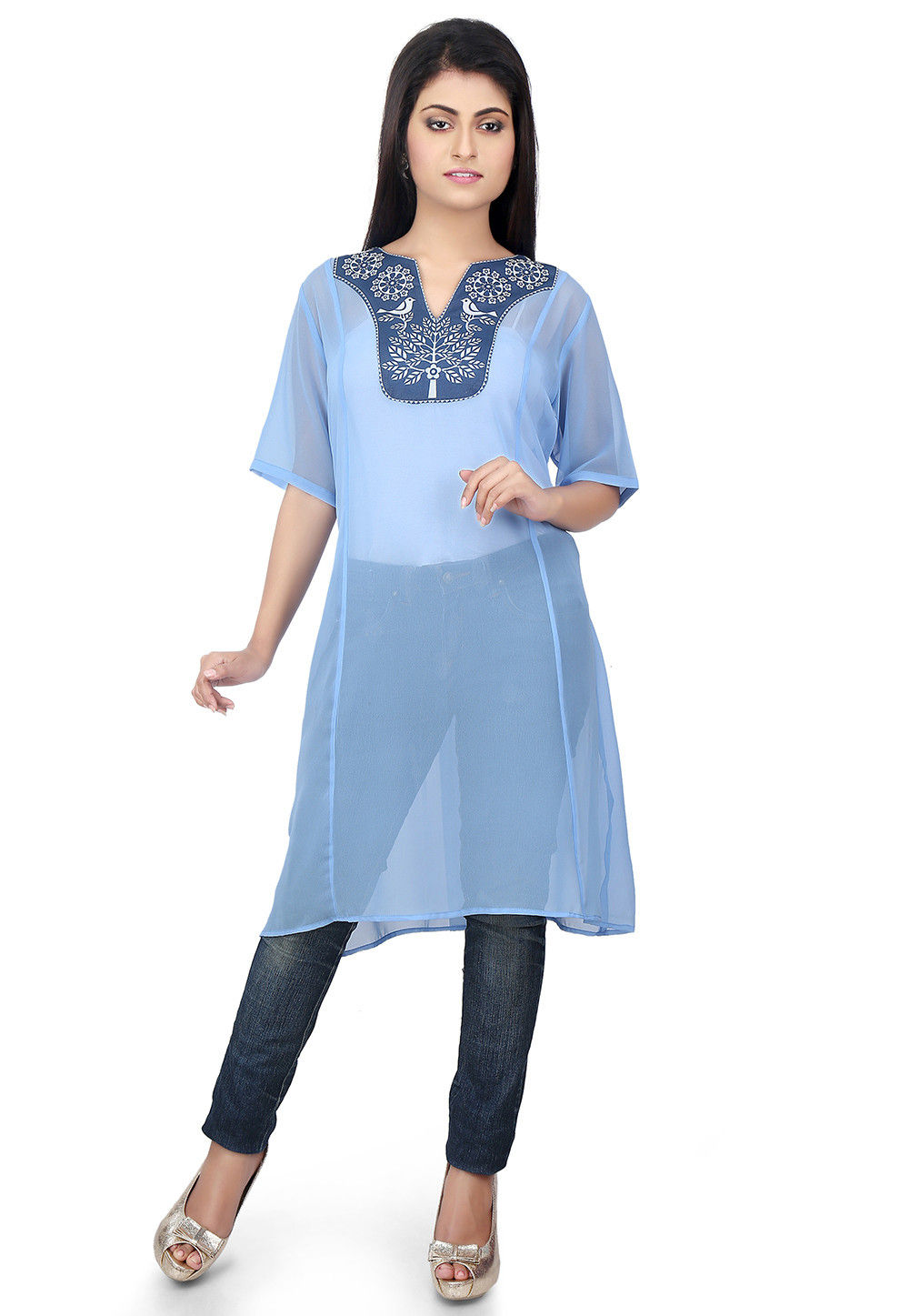 Plain Georgette Tunic in Sky Blue