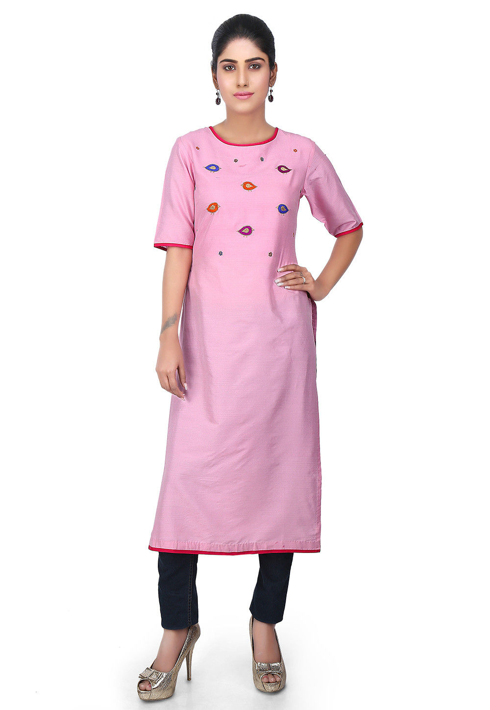 Embroidered Yoke Cotton Silk Kurta in Pink