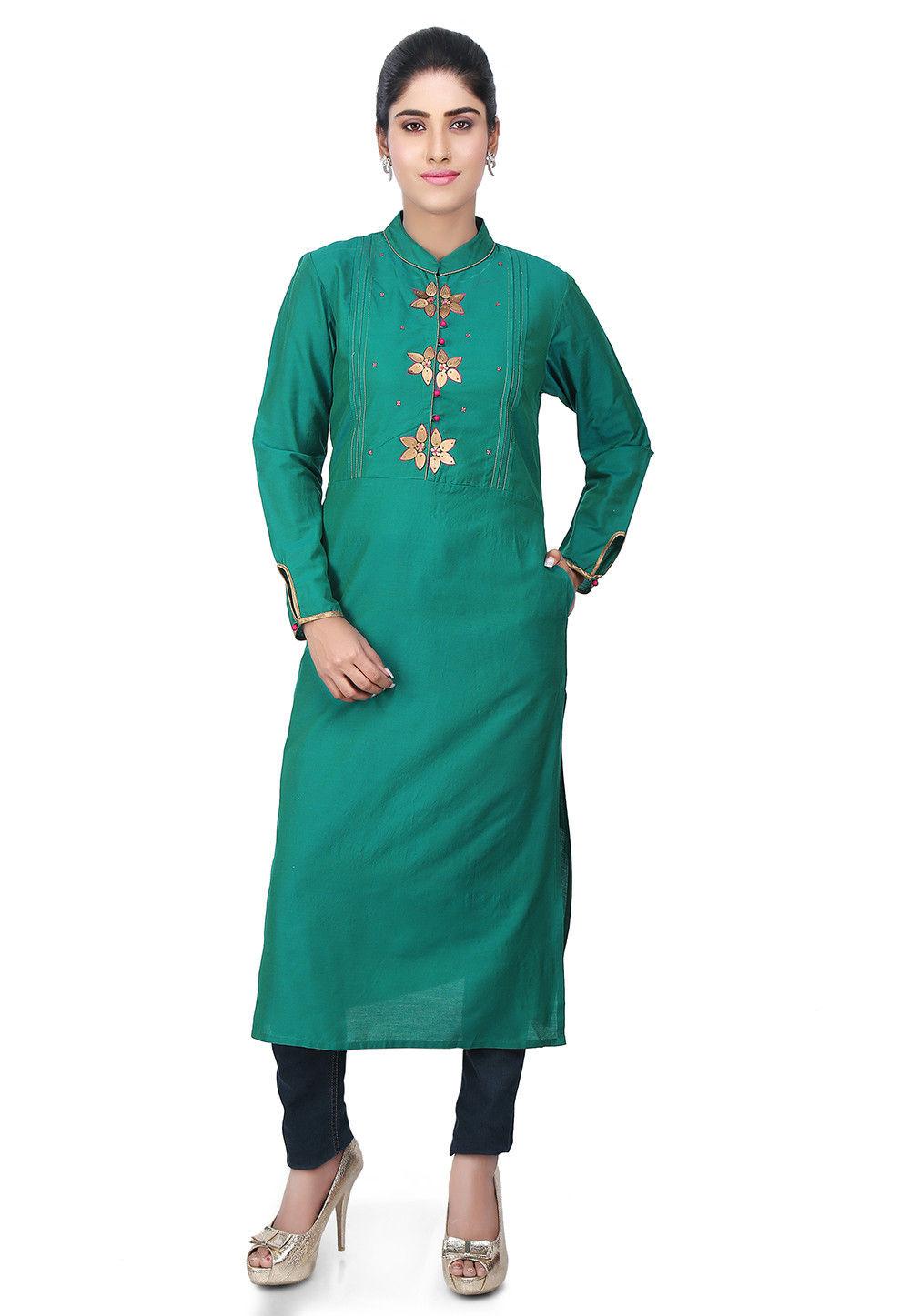 Embellished Yoke Cotton Silk Kurta in Teal Green