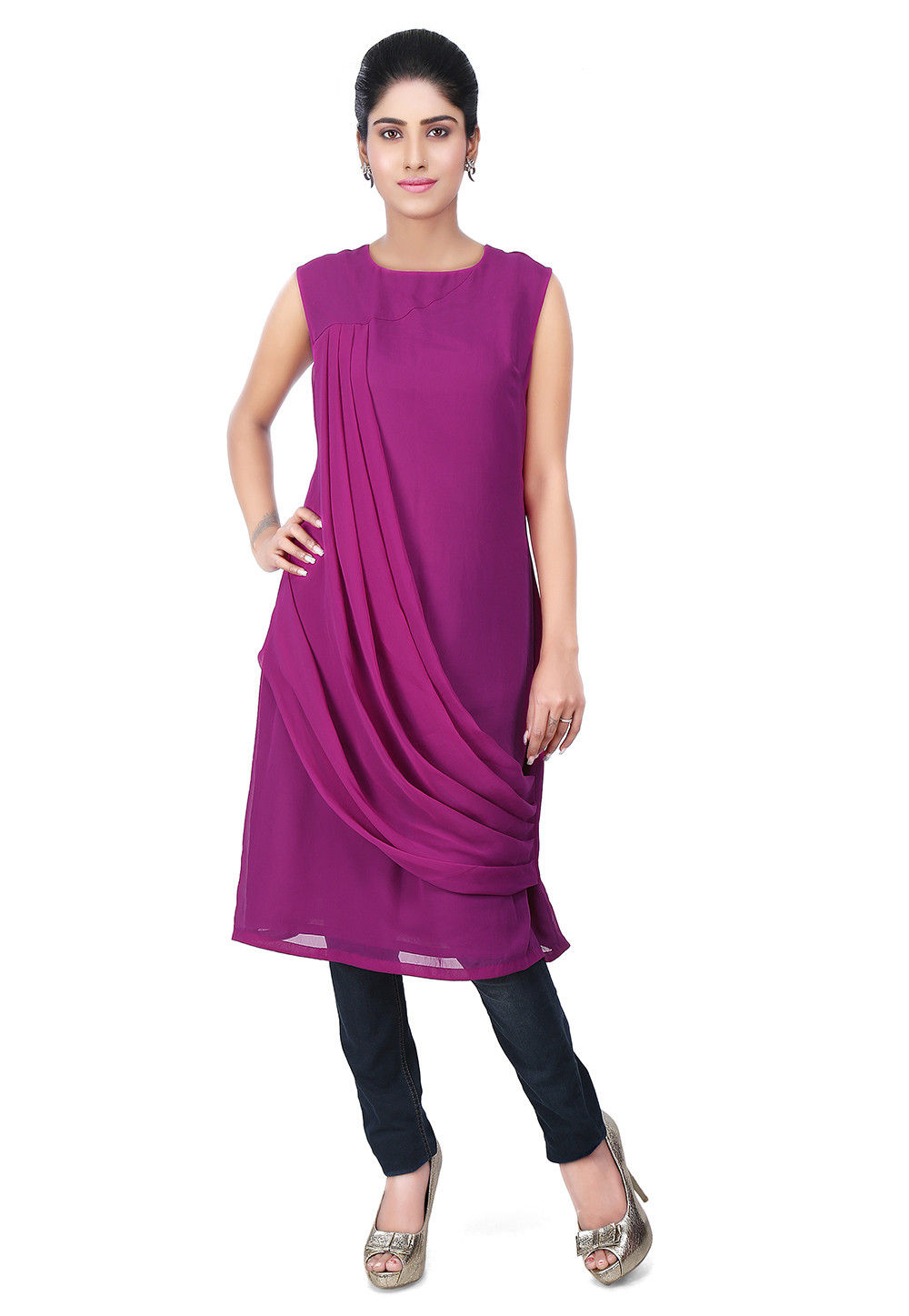 Cowl Style Georgette Tunic in Purple
