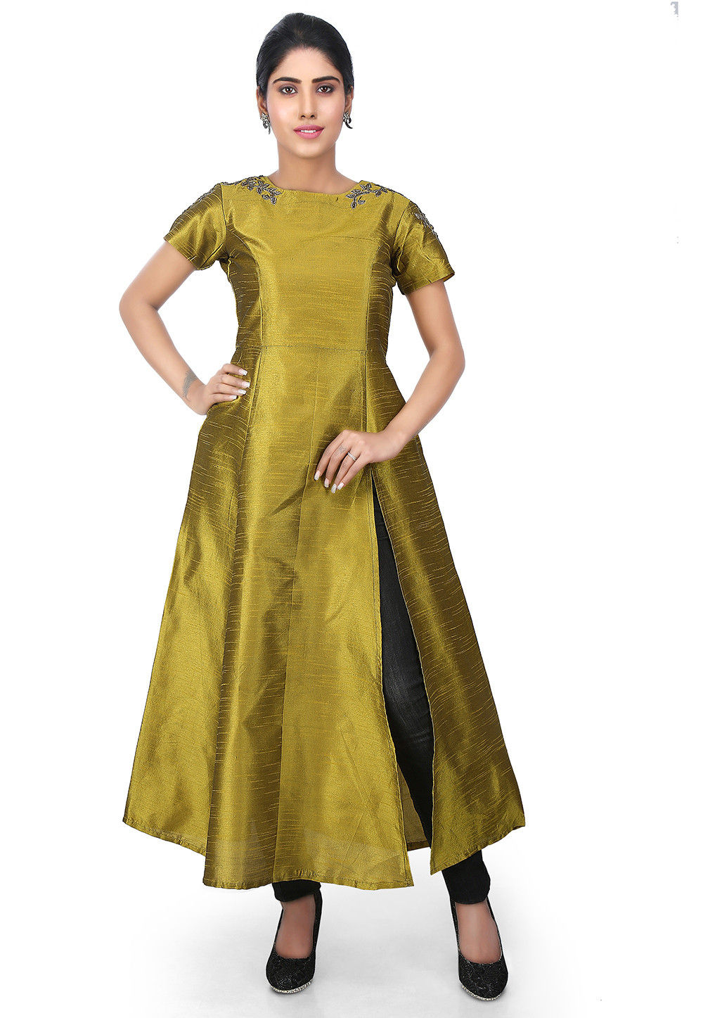 Hand Embroidered Dupion Silk Side Slit Kurta in Olive Green