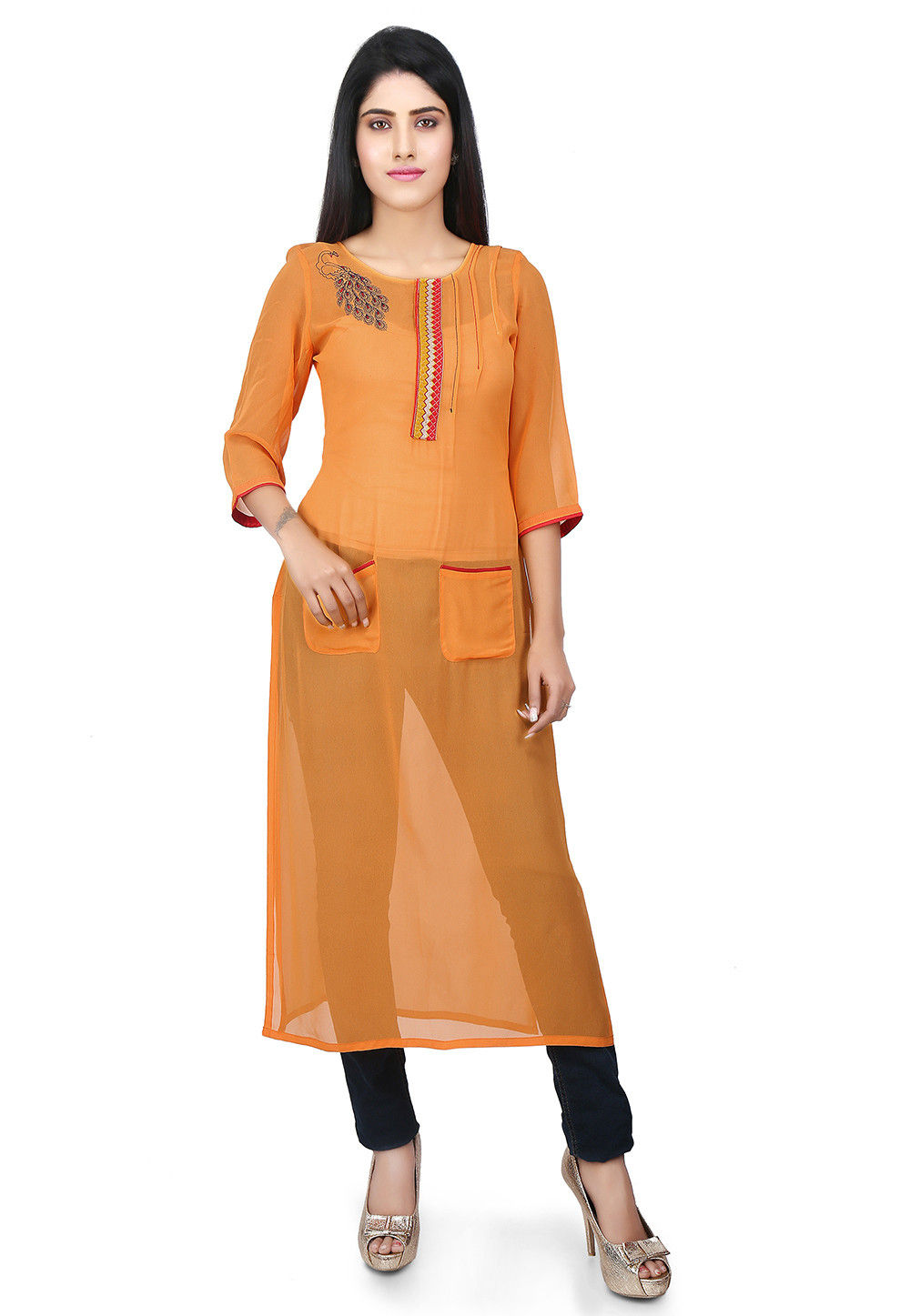 Pintucks Georgette Kurta in Orange