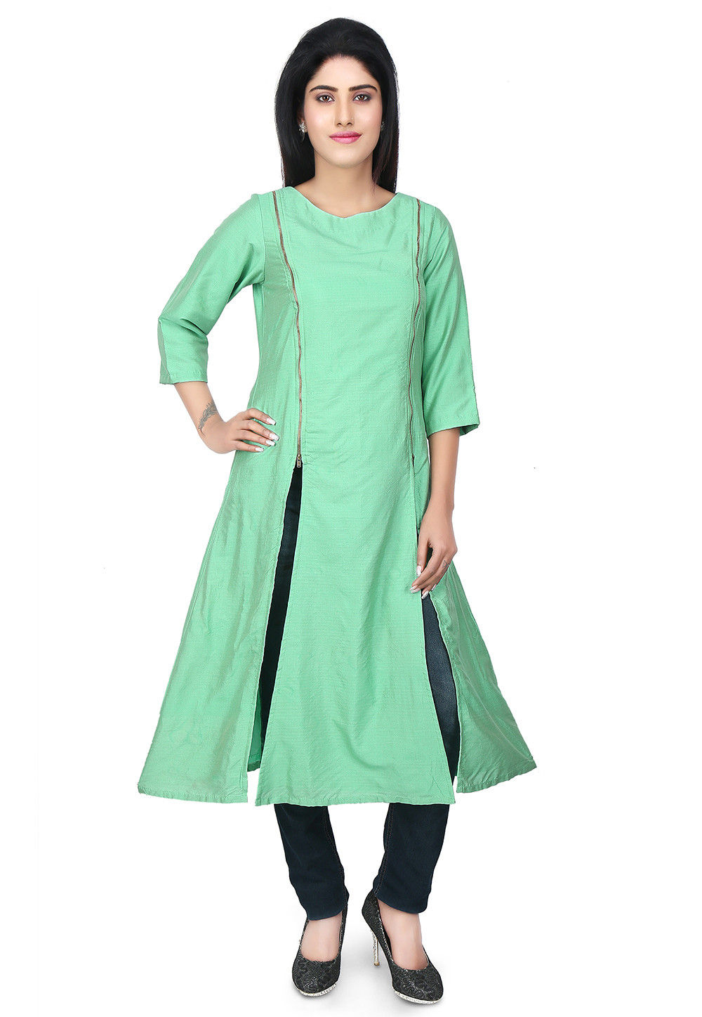 Side Slit Cotton Silk Side Slit Kurta in Sea Green
