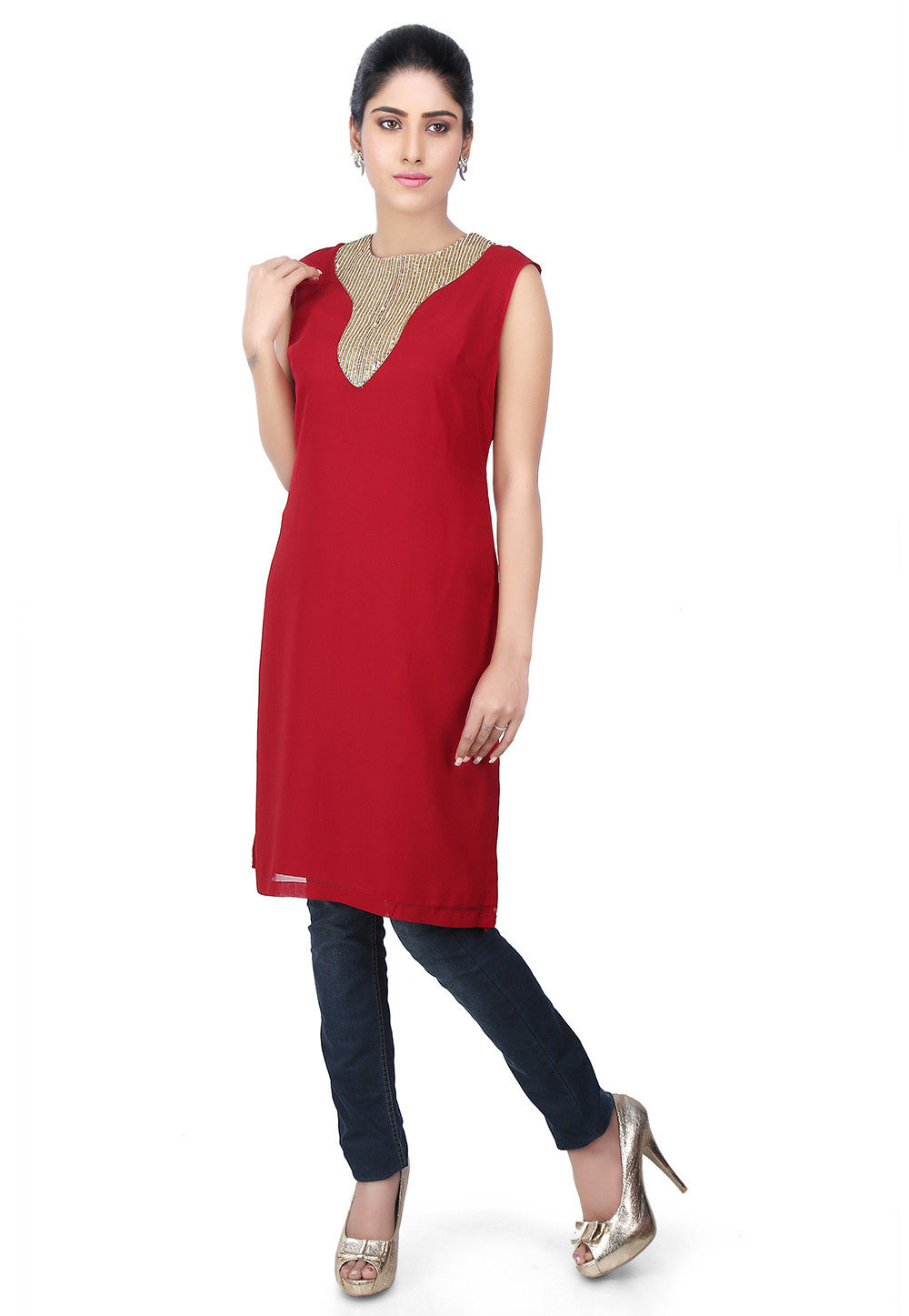 Hand Embroidered Georgette Kurti in Maroon
