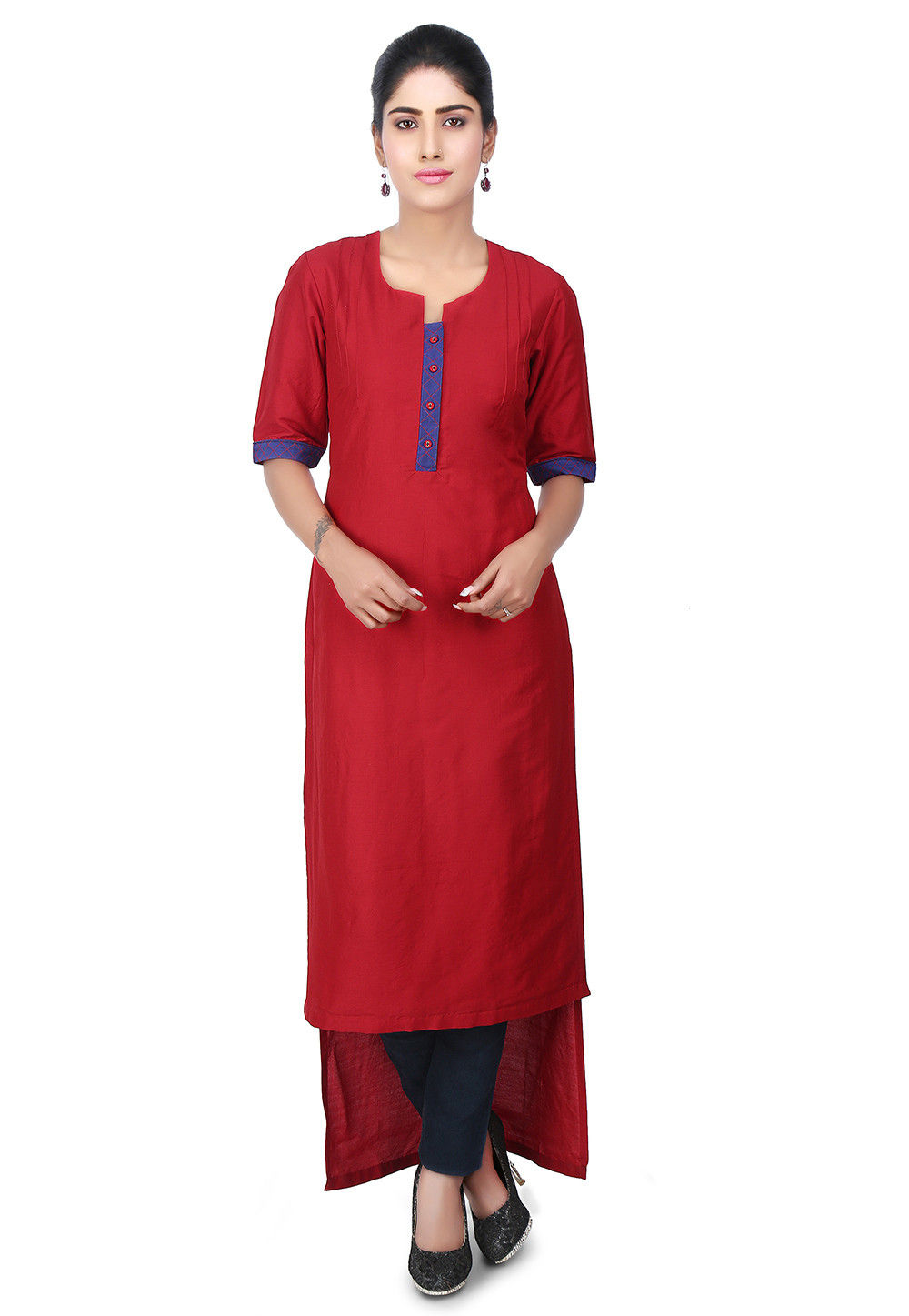 High Low Cotton Silk High Low Kurta in Red