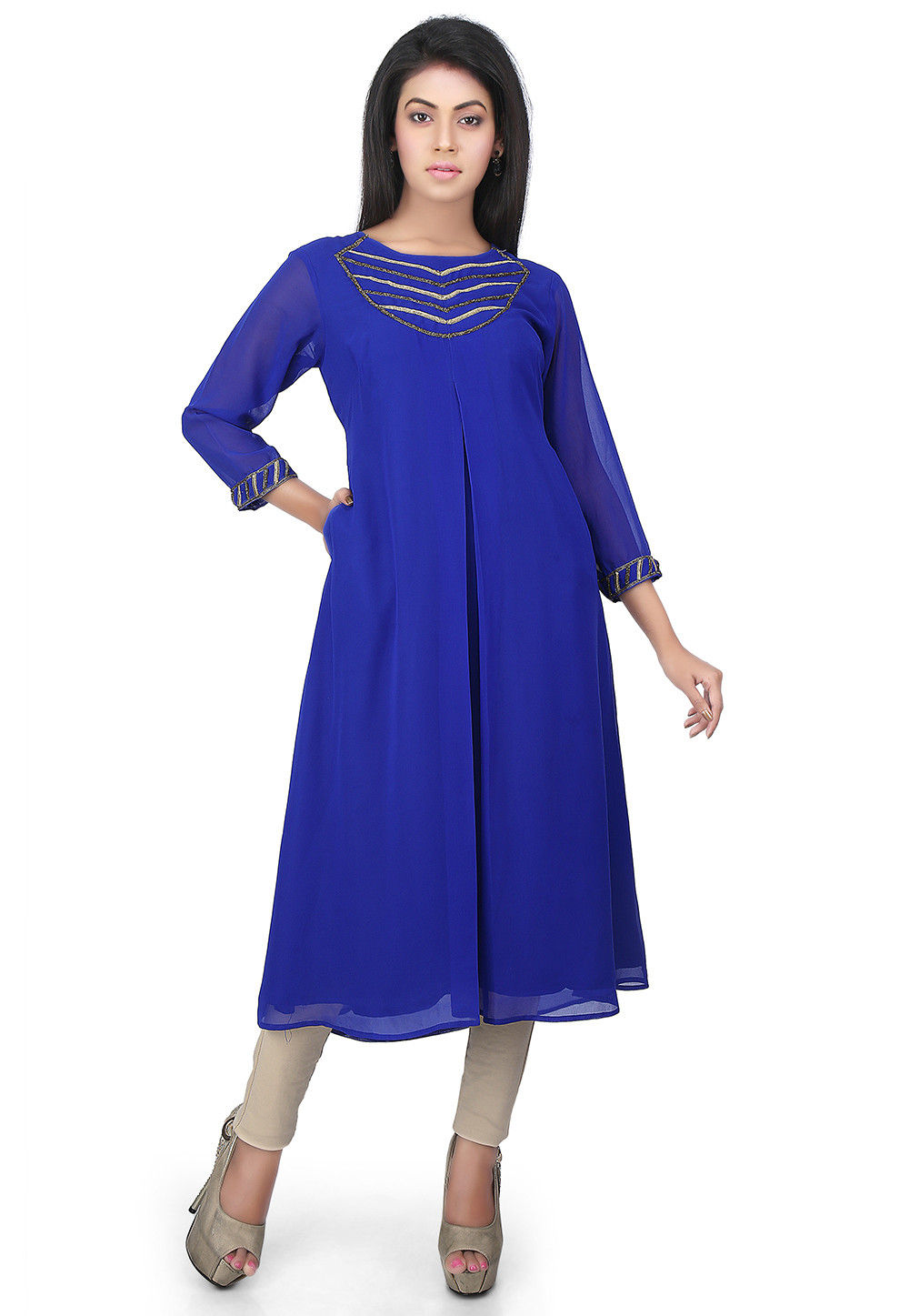 Front Slit Georgette Front Slit Kurta in Royal Blue