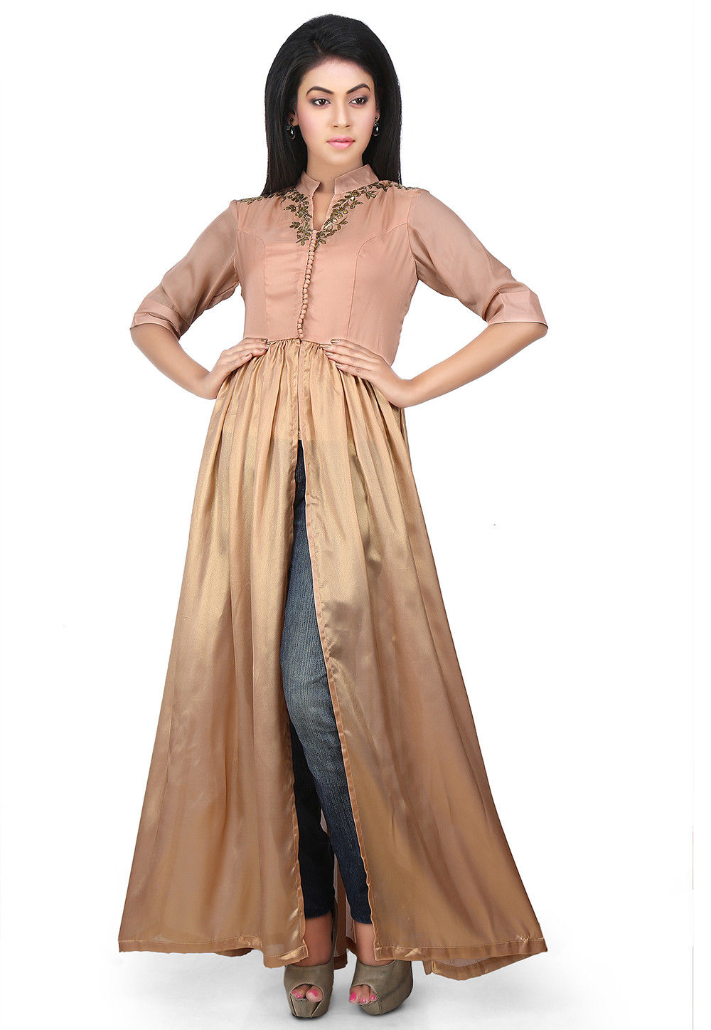 Embroidered Neckline Georgette Jacket Style Kurta in Beige
