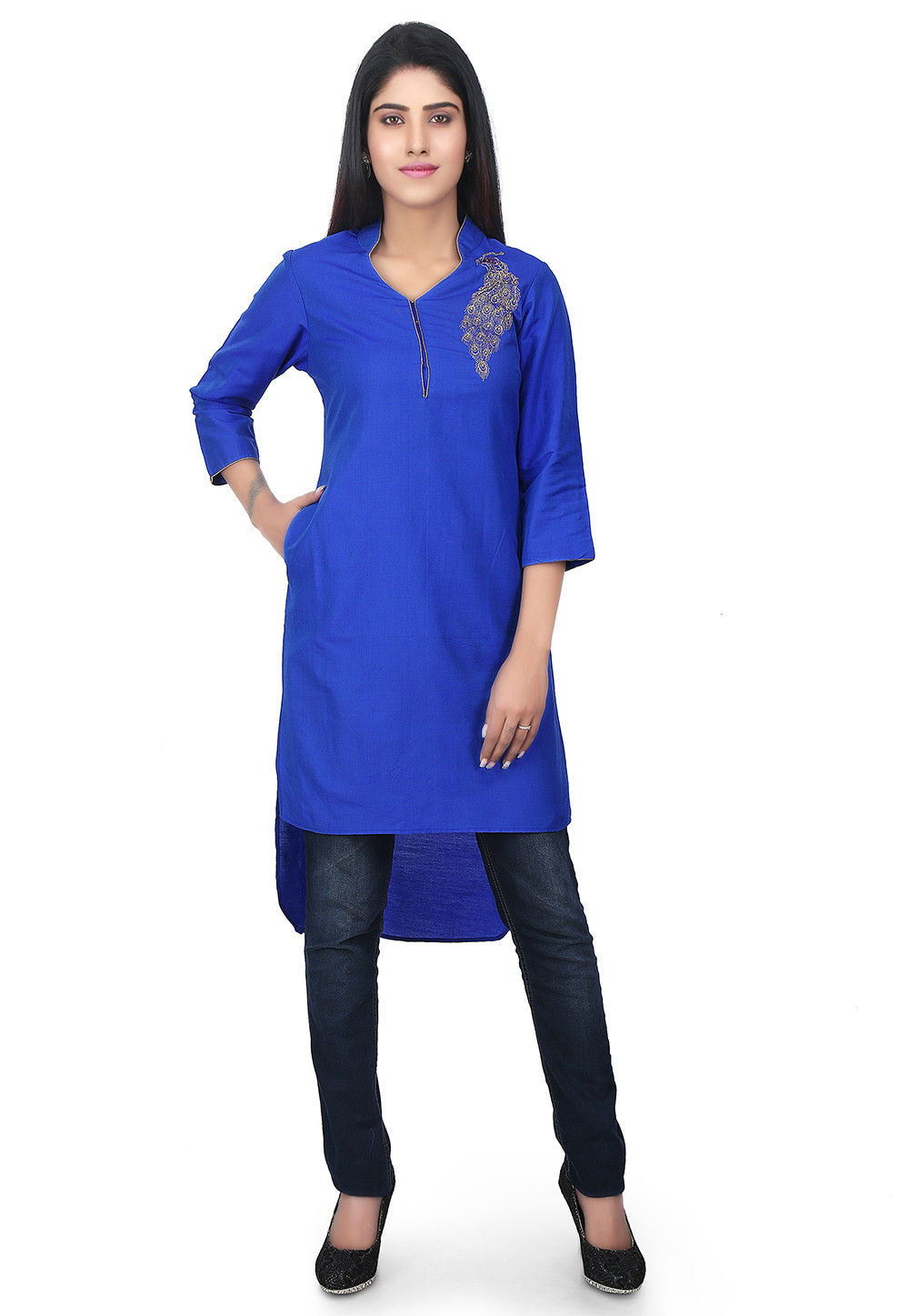 High Low Cotton Silk High Low Kurti in Royal Blue