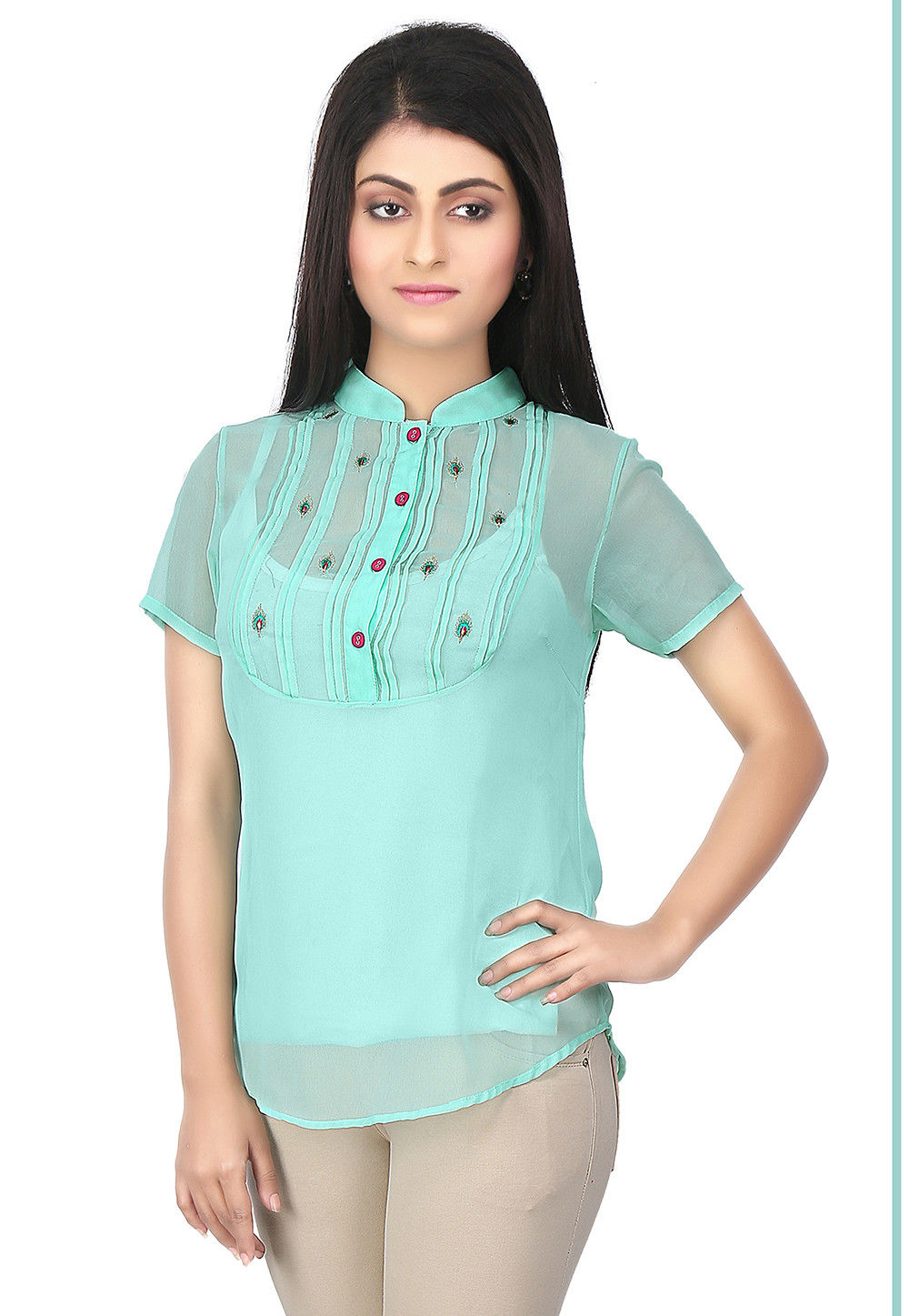 Tucks Georgette Top in Turquoise