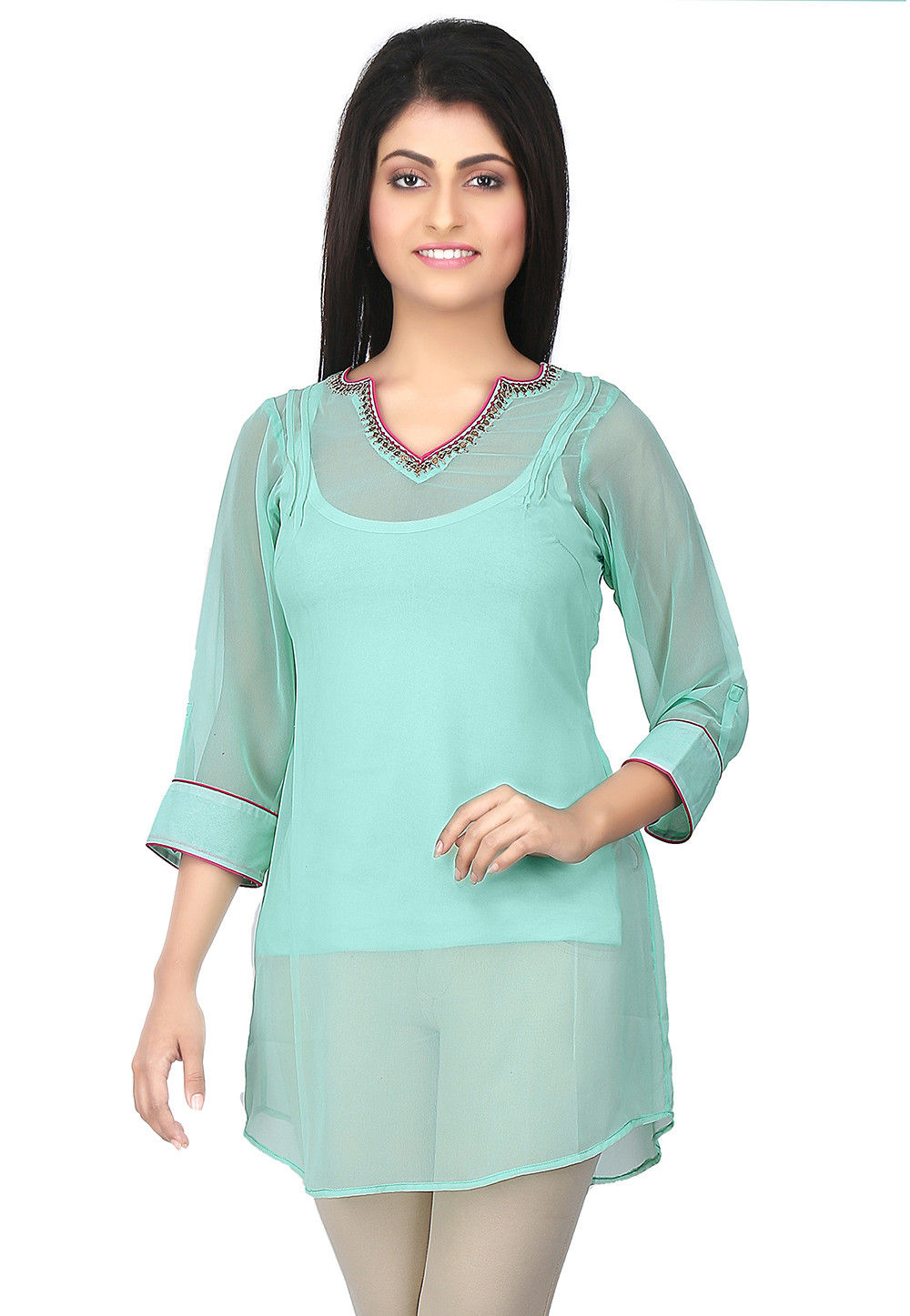 Hand Embroidered Georgette Tunic in Turquoise