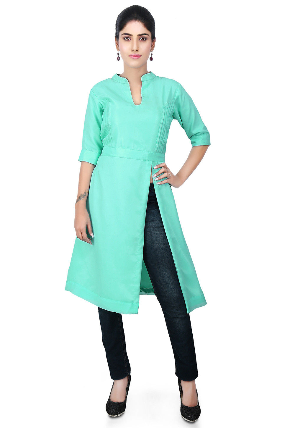Pintucks Georgette Side Slit Kurta in Sea Green