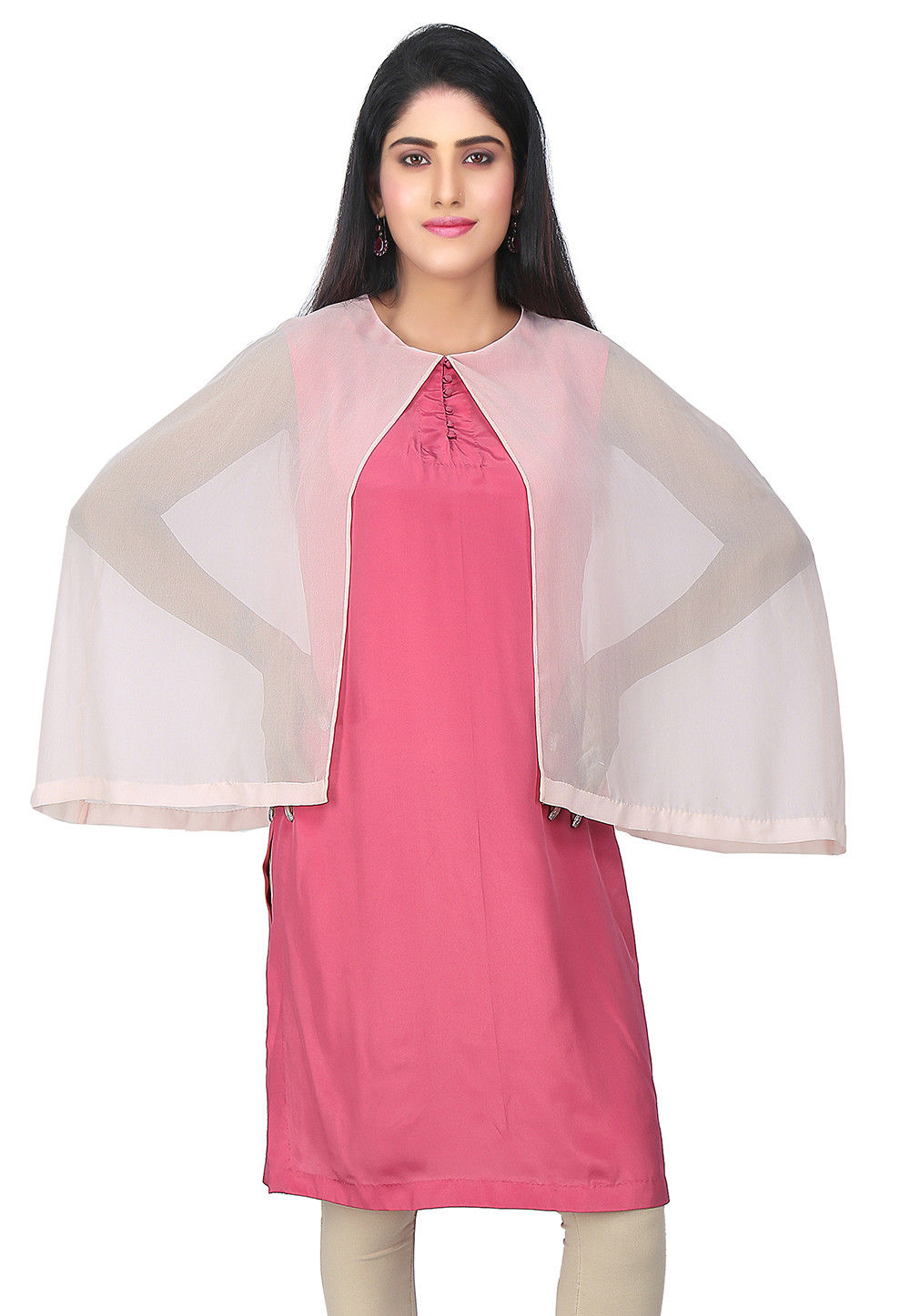 Plain Georgette Tunic in Pink